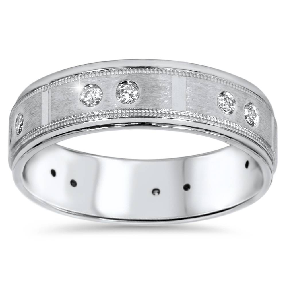 1 4ct Mens Diamond 6mm Wedding Ring 14K White gold