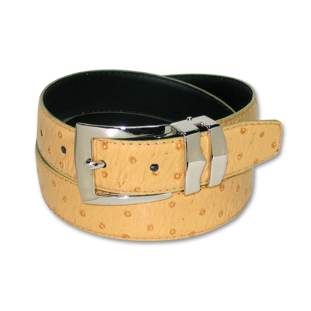 OSTRICH Pattern CHARCOAL GRAY Bonded Leather Mens Belt Gold-Tone Buckle Regular