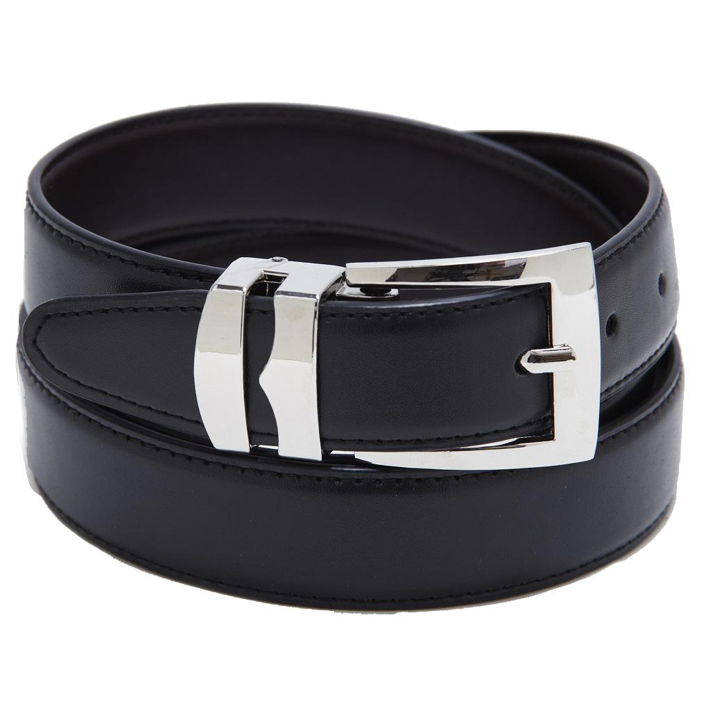 Men-039-s-Belt-Reversible-Wide-Bonded-Leather-Silver-Tone-Buckle-XL-Sizes
