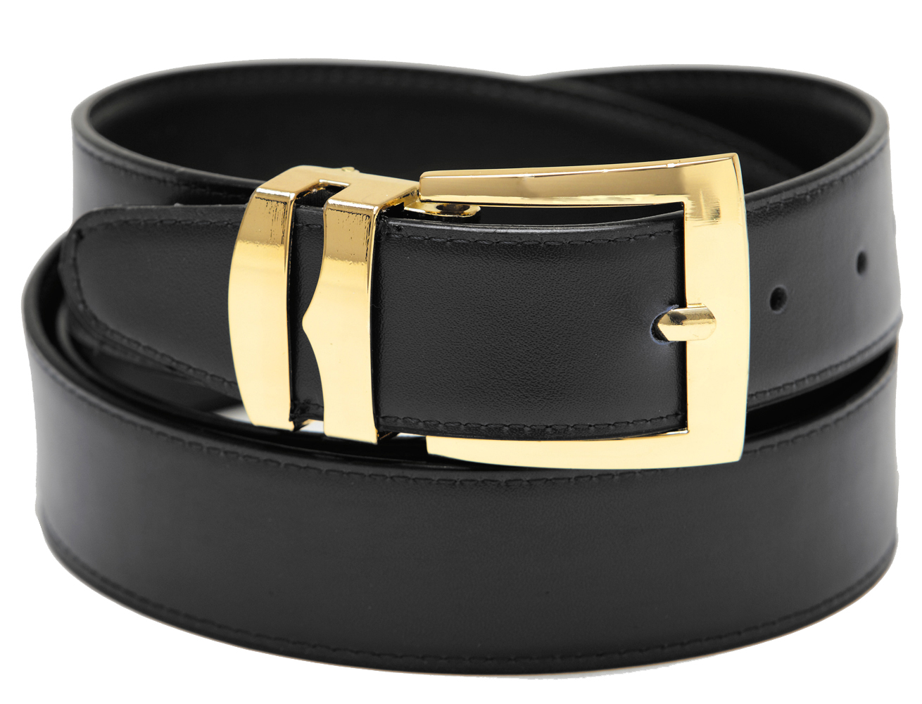 Men-039-s-Belt-Reversible-Wide-Bonded-Leather-Gold-Tone-Buckle-Over-20-Colors