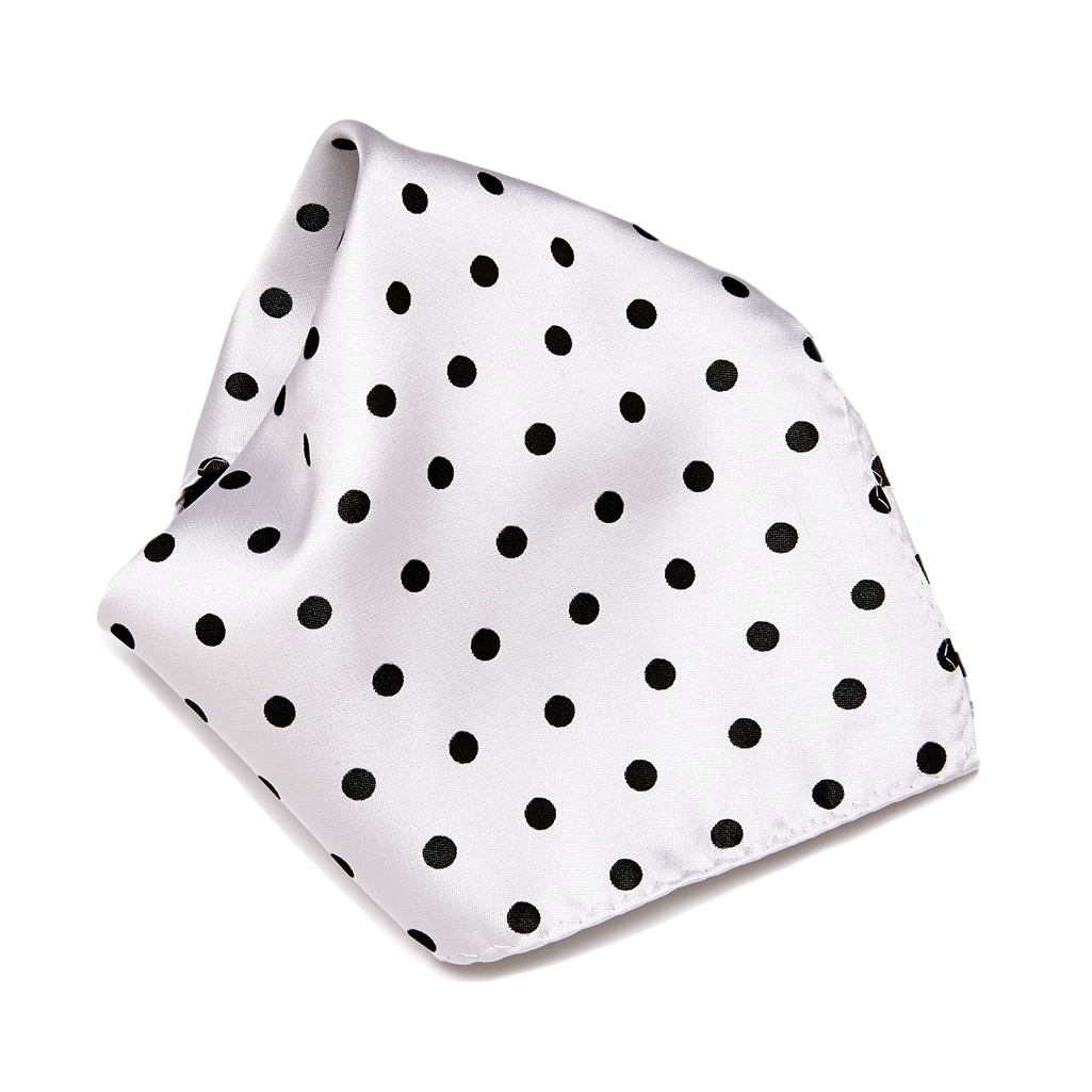 Men/'s Pocket Square Silver White Polka Dot Dress Suit Handkerchief  Black Hanky