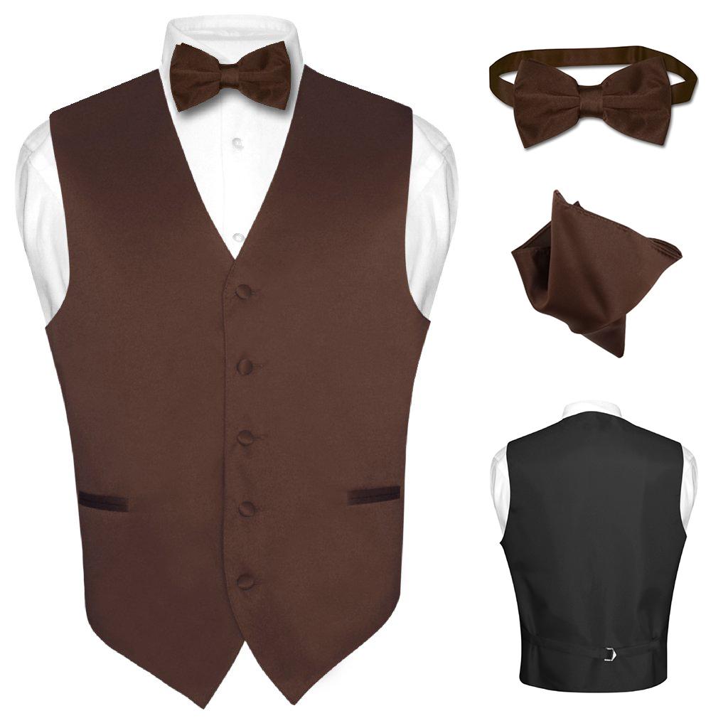 Men S Dress Vest Bowtie Hanky Solid Color Waistcoat Bow