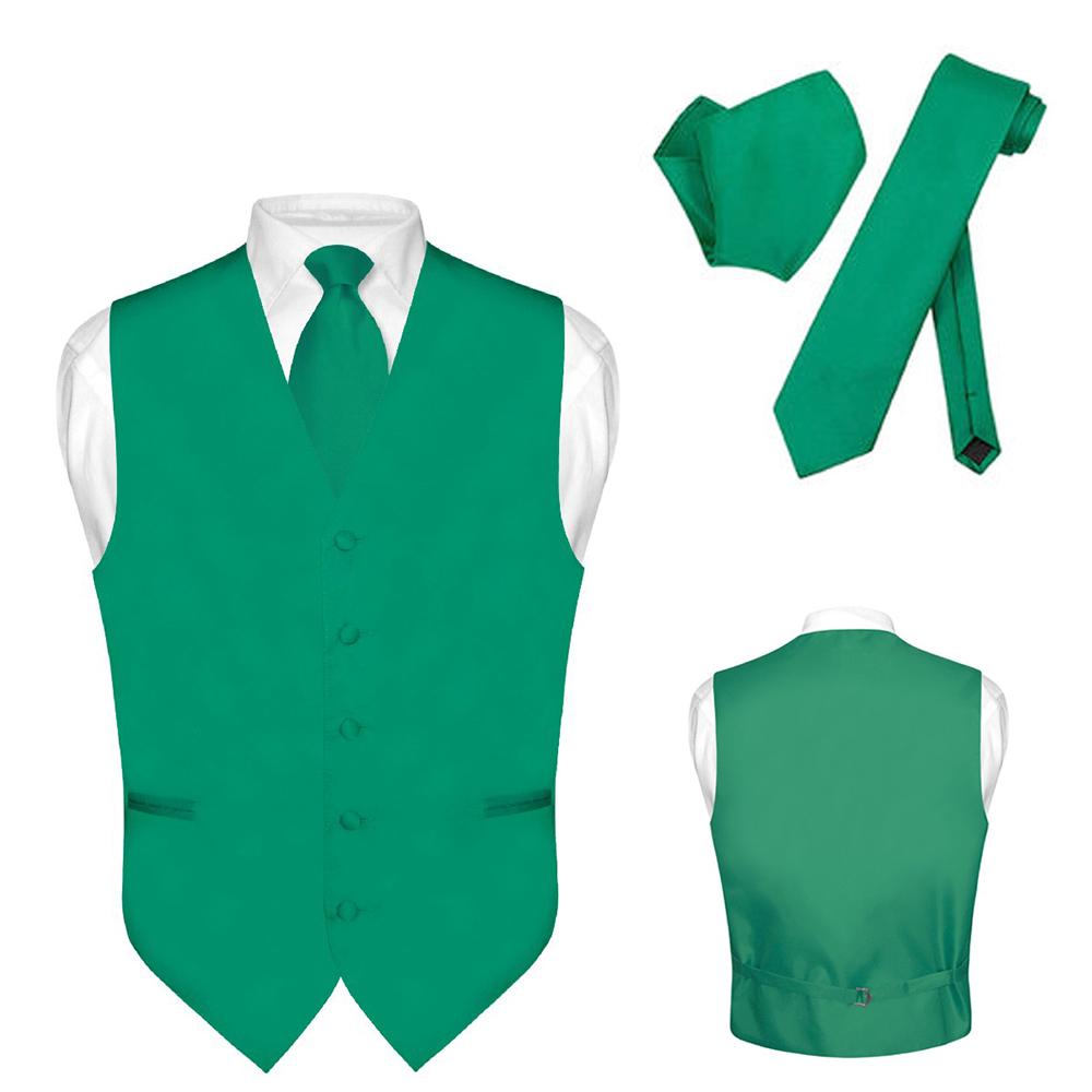 Men\'s Dress Vest NeckTie Hanky Solid Color Waistcoat Neck Tie Set ...