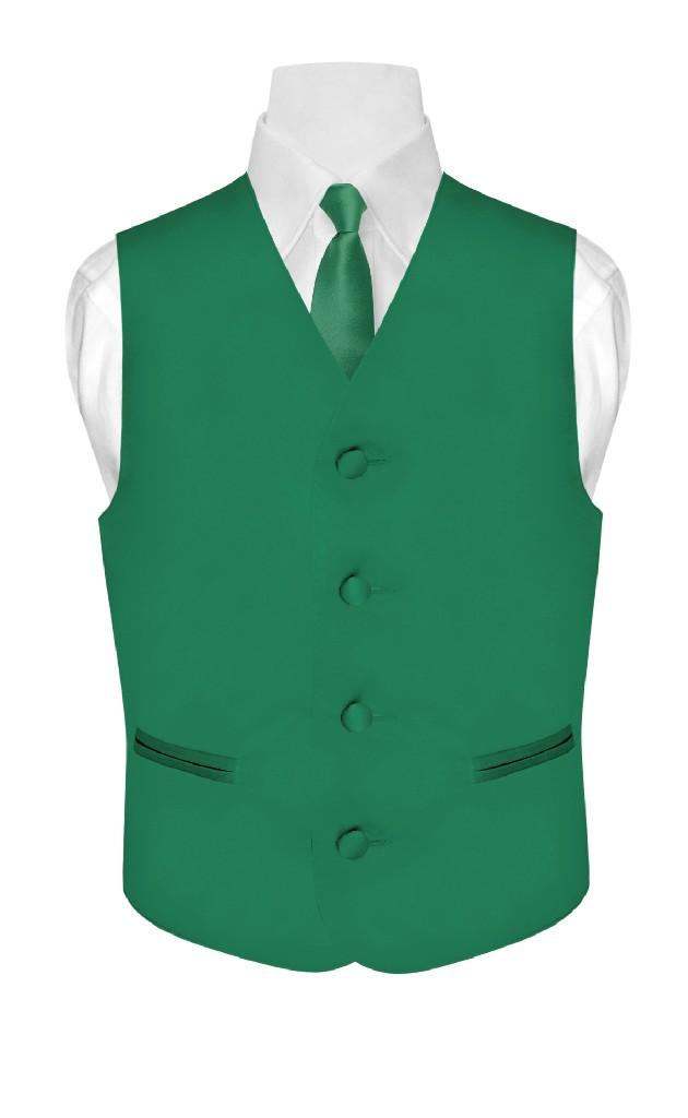Tux BOY/'S Dress Vest /& NeckTie Solid EMERALD GREEN Color Neck Tie Set for Suit