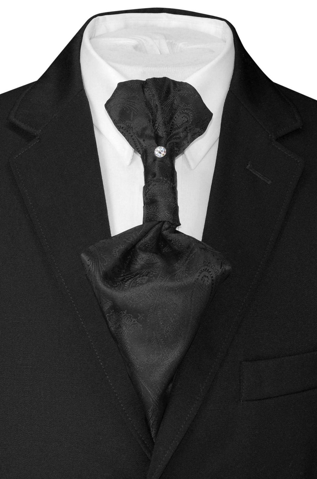Black Solid Color Ascot