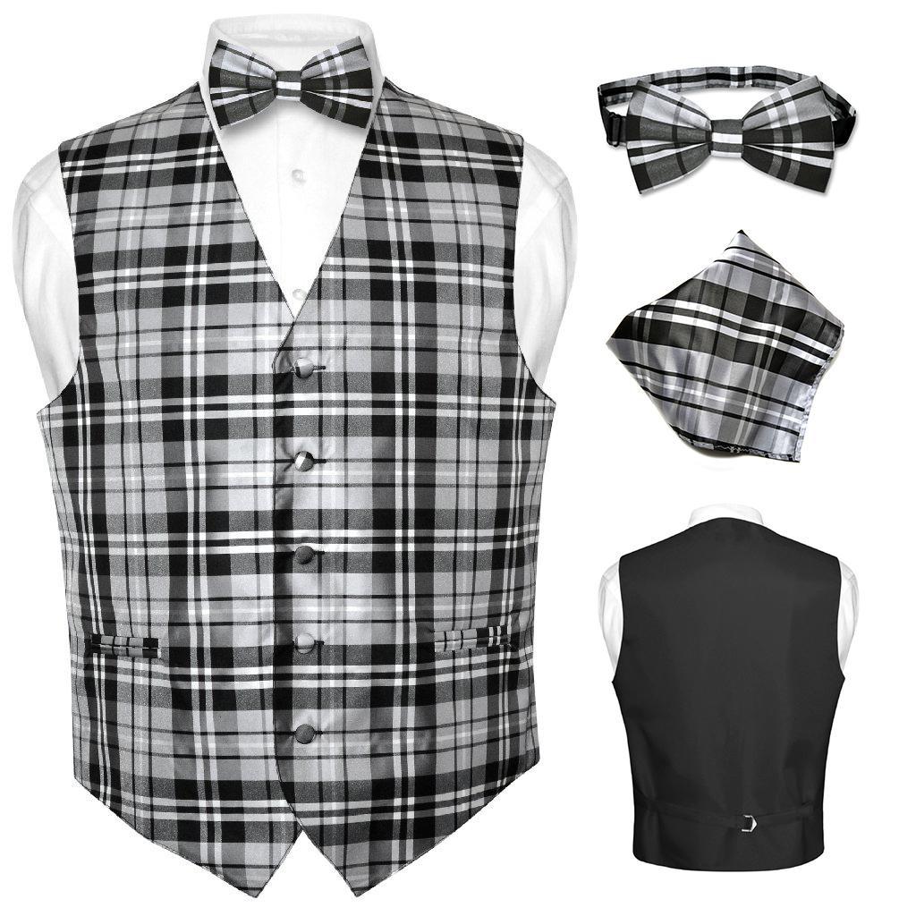 New Men/'s Plaid Tuxedo Vest Waistcoat /& Bowtie Set Gray Wedding Prom formal