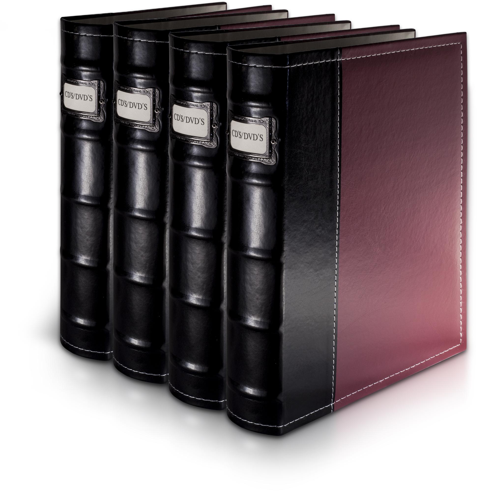 Bellagio-Italia Burgandy Leather CD/DVD Binder 4 Pack