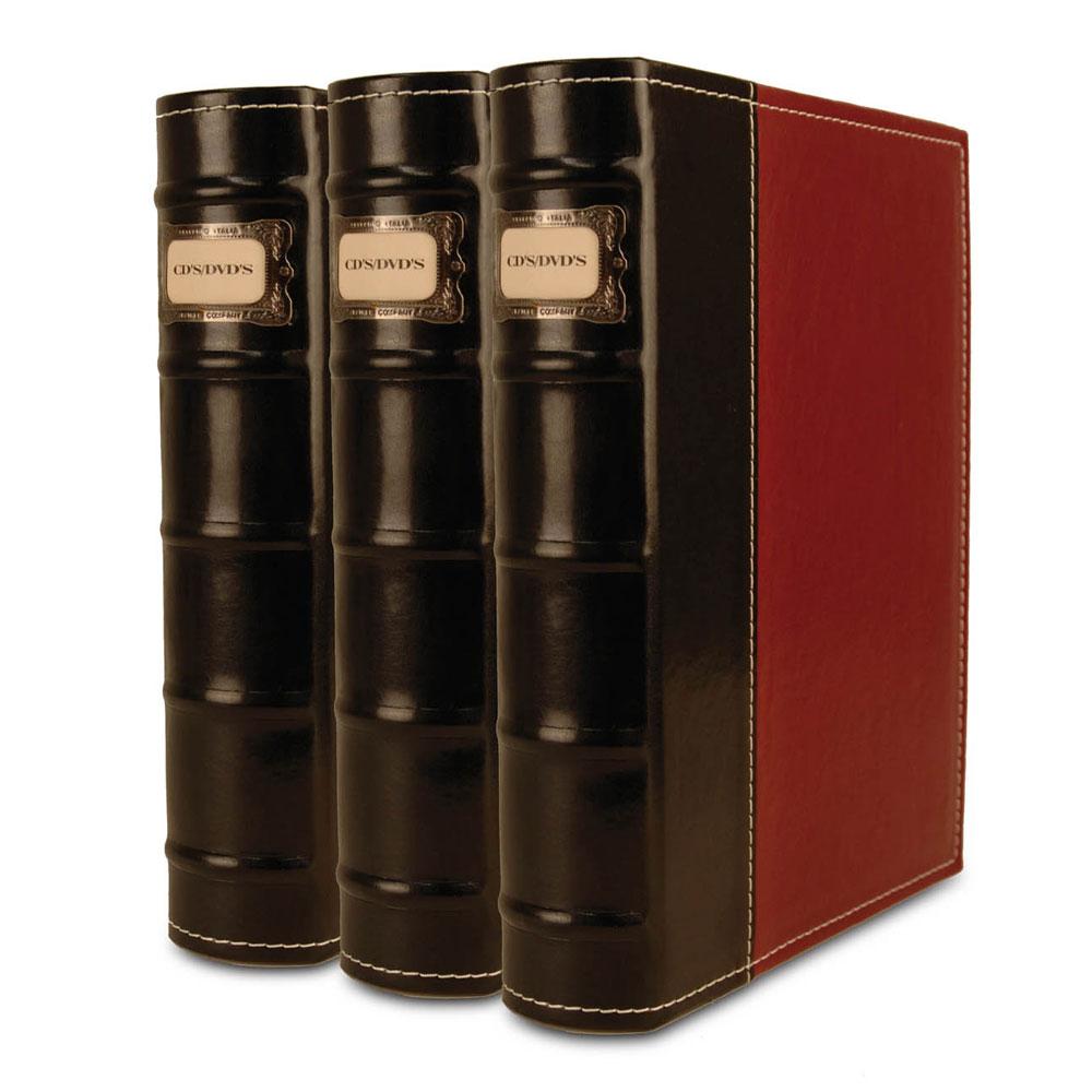 Bellagio-Italia 3 CD/DVD Media Storage Binders Burgundy