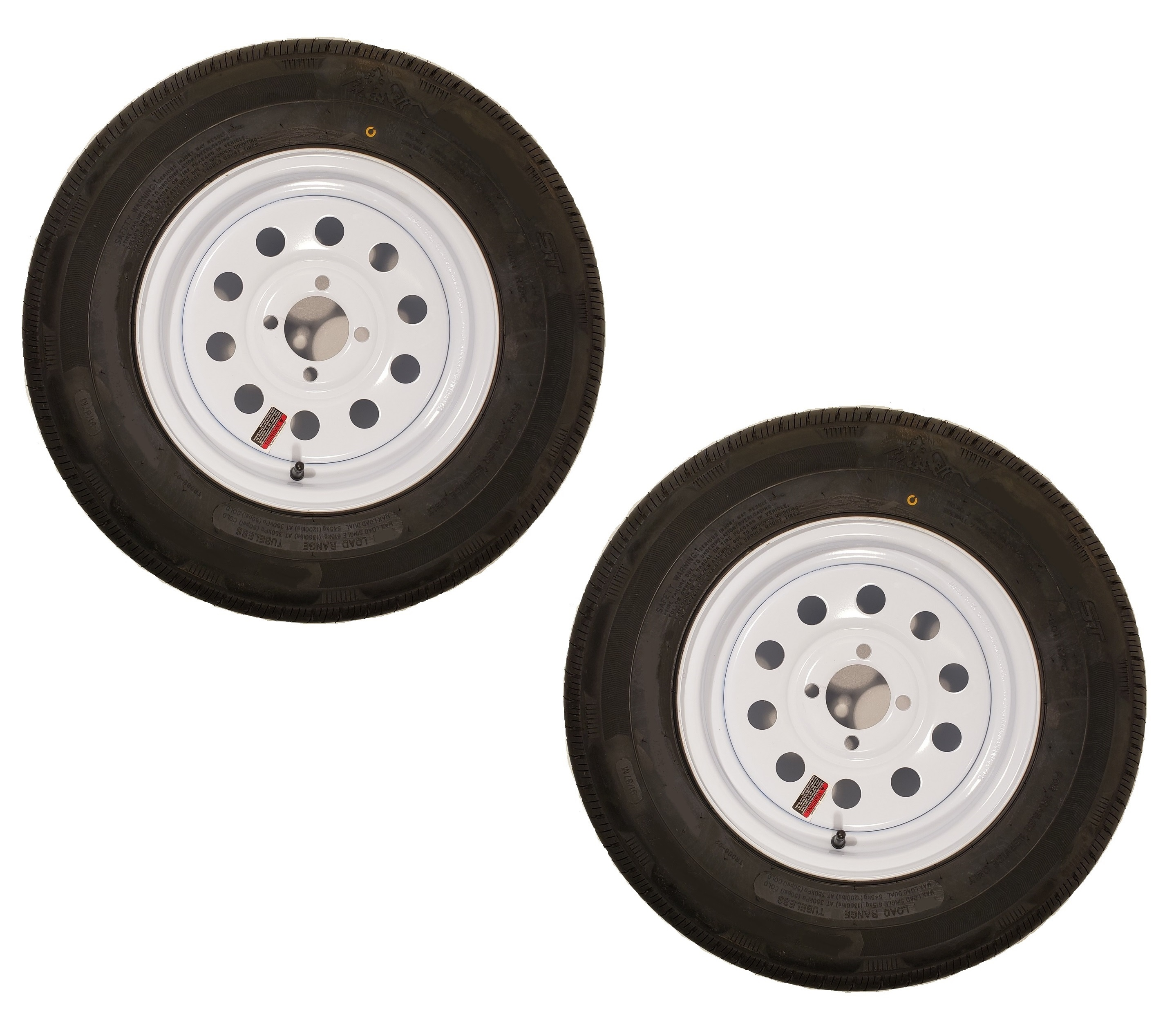 eCustomRim 2-Pack Mounted Trailer Tire On Rim H188 ST185//80D13 13X4.5 5-4.5 White Modular