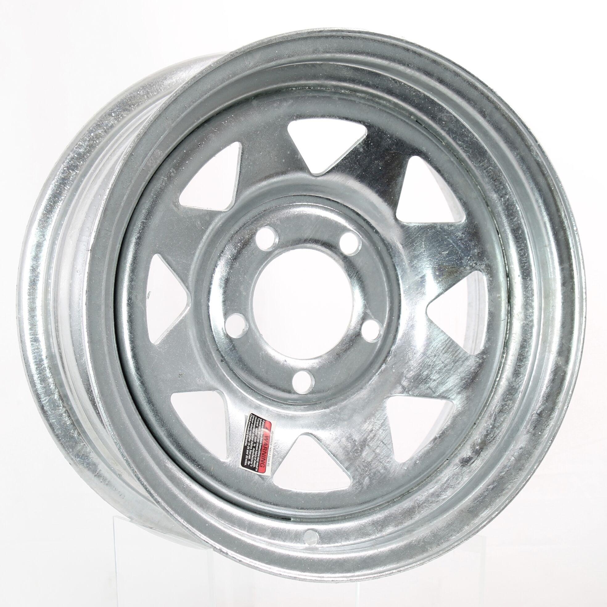 3.19 Center Bore 5 Lug Trailer Rim Wheel JG 13X4.5 Black Spoke 1730 Lb