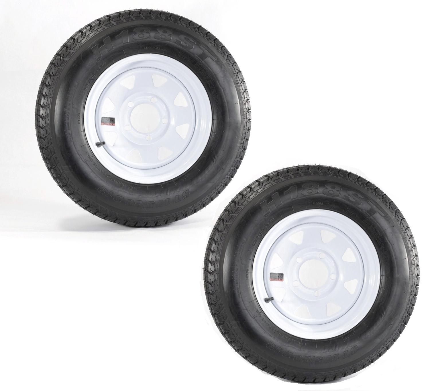 """5x4.5 bolt circle 13/"""" White Spoke Trailer Wheel bias ST175//80D13 Tire Mounted"""