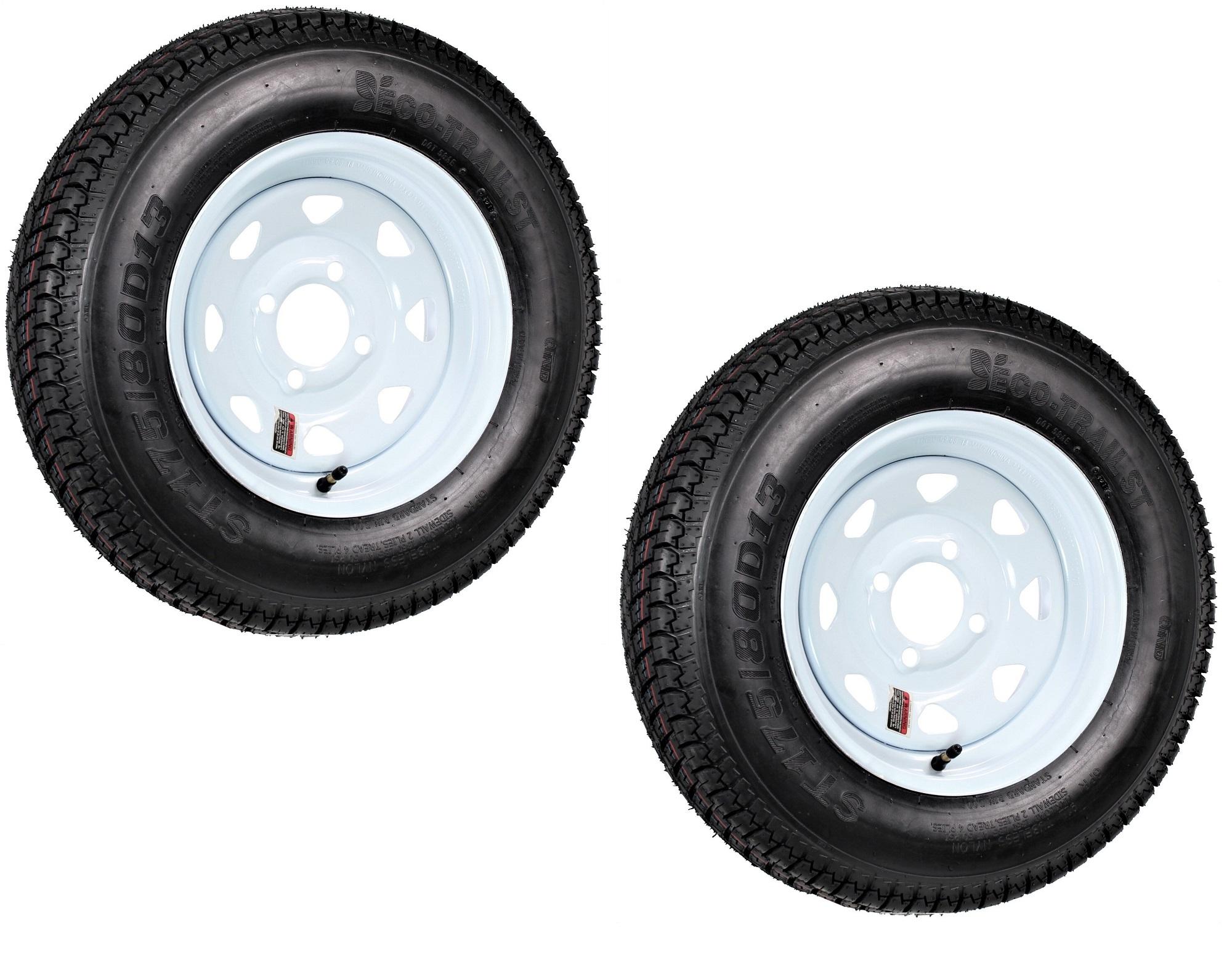 2-Pack Radial Trailer Tire On Rim ST175//80R13 13 in Load C 4 Lug White Spoke