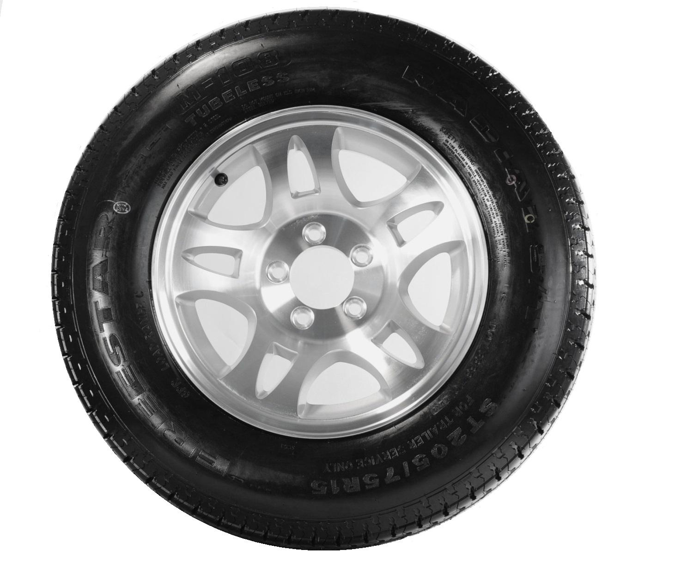 2-Pk Radial Trailer Tire On Silver Rim ST205//75R14 LRC 5 Lug On 4.5 Spoke Wheel
