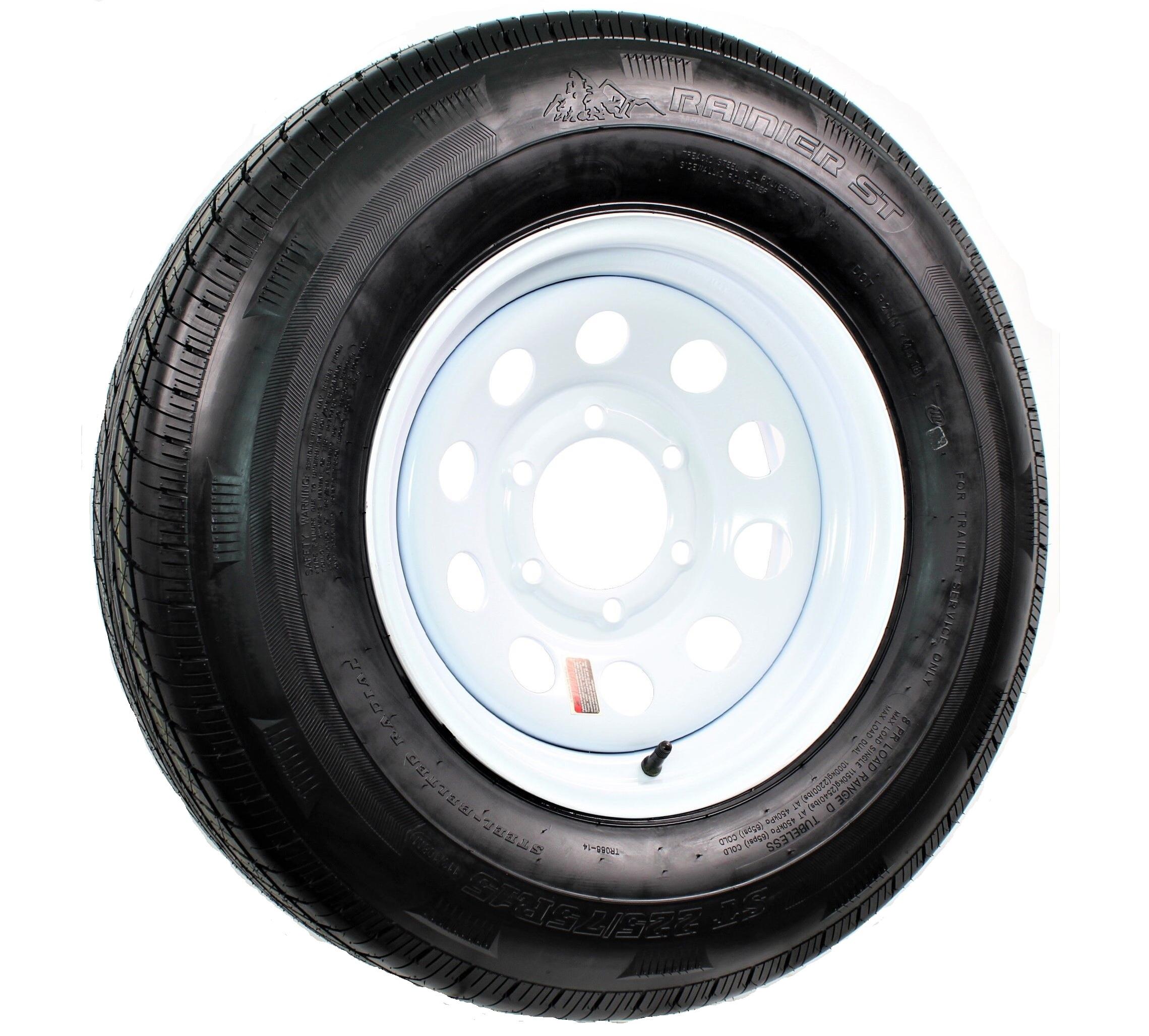 Radial Trailer Tire On Rim ST225//75R15 225//75-15 15 6 Lug Wheel Aluminum Modular