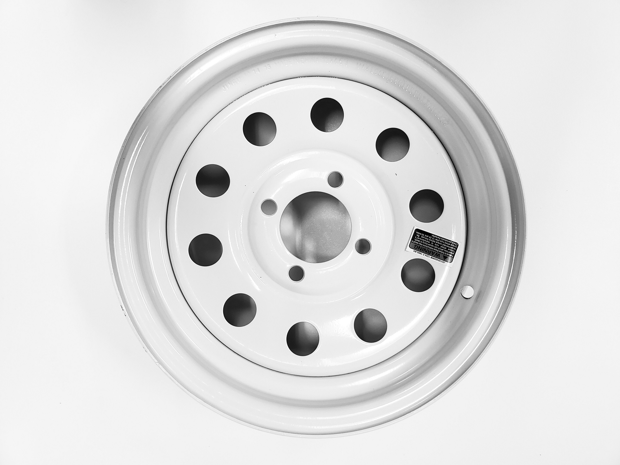 13X4.5 5 Lug Hole Bolt White Spoke Design Two Trailer Rims Wheels 13 in