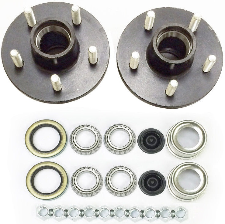 1-1//16 in. 2-Pack Trailer Wheel Hub Complete Kit Steel 4 Lug BT-16 2000 Lb