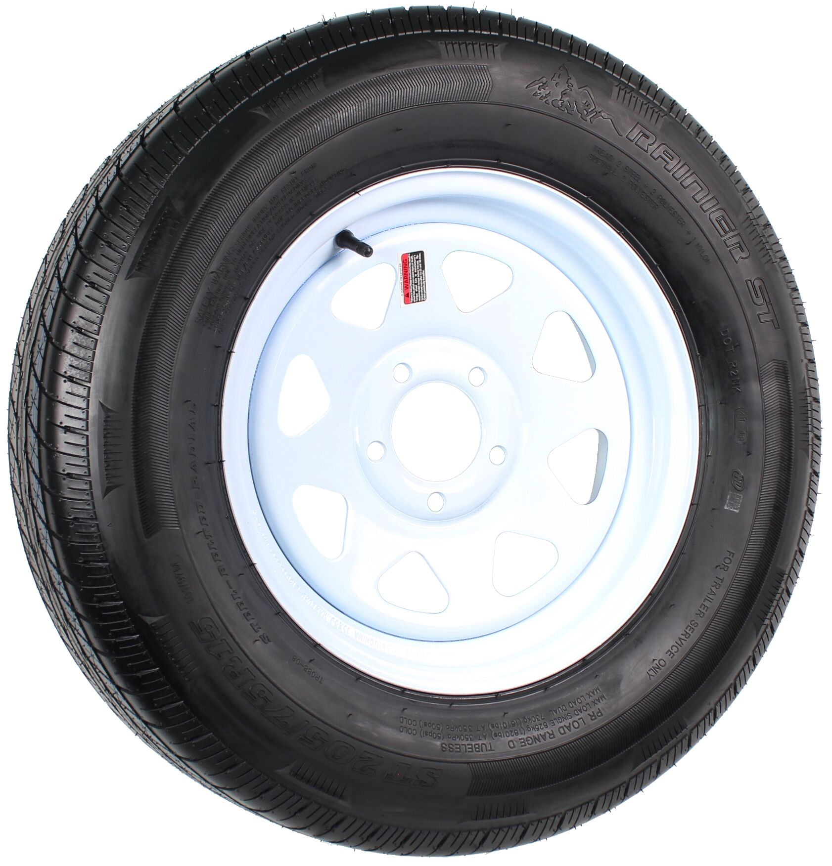 Silver Spoke 5 on 4.5 2-Pack Radial Trailer Tire On Rim ST205//75R15D Load D