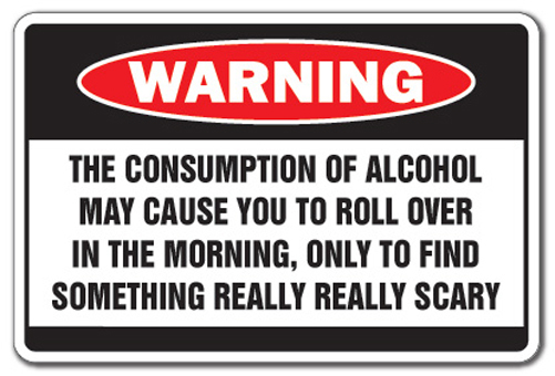 ALCOHOL CAUSES SOMETHING SCARY -Warning Bar Sign drunk gift drinker beer funny