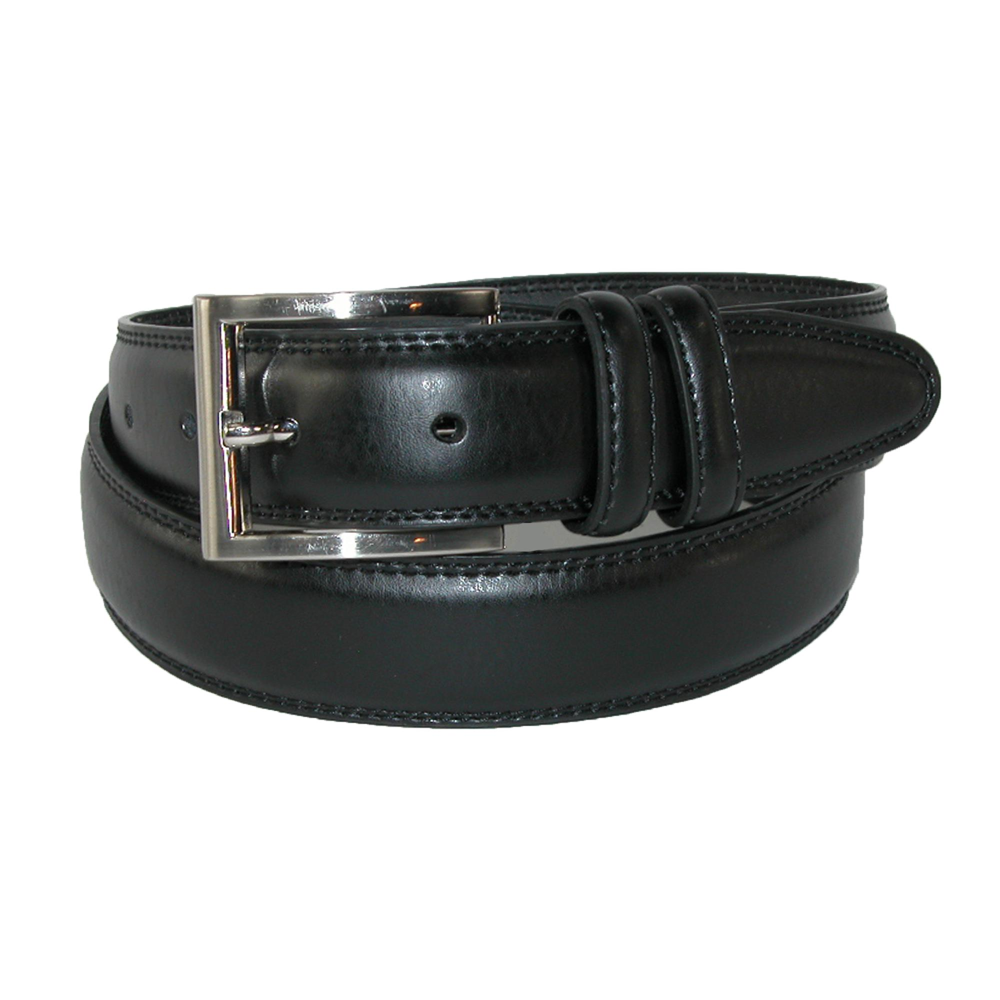 Aquarius Mens Leather 32mm Double Keeper Padded Belt With Satin Buckle