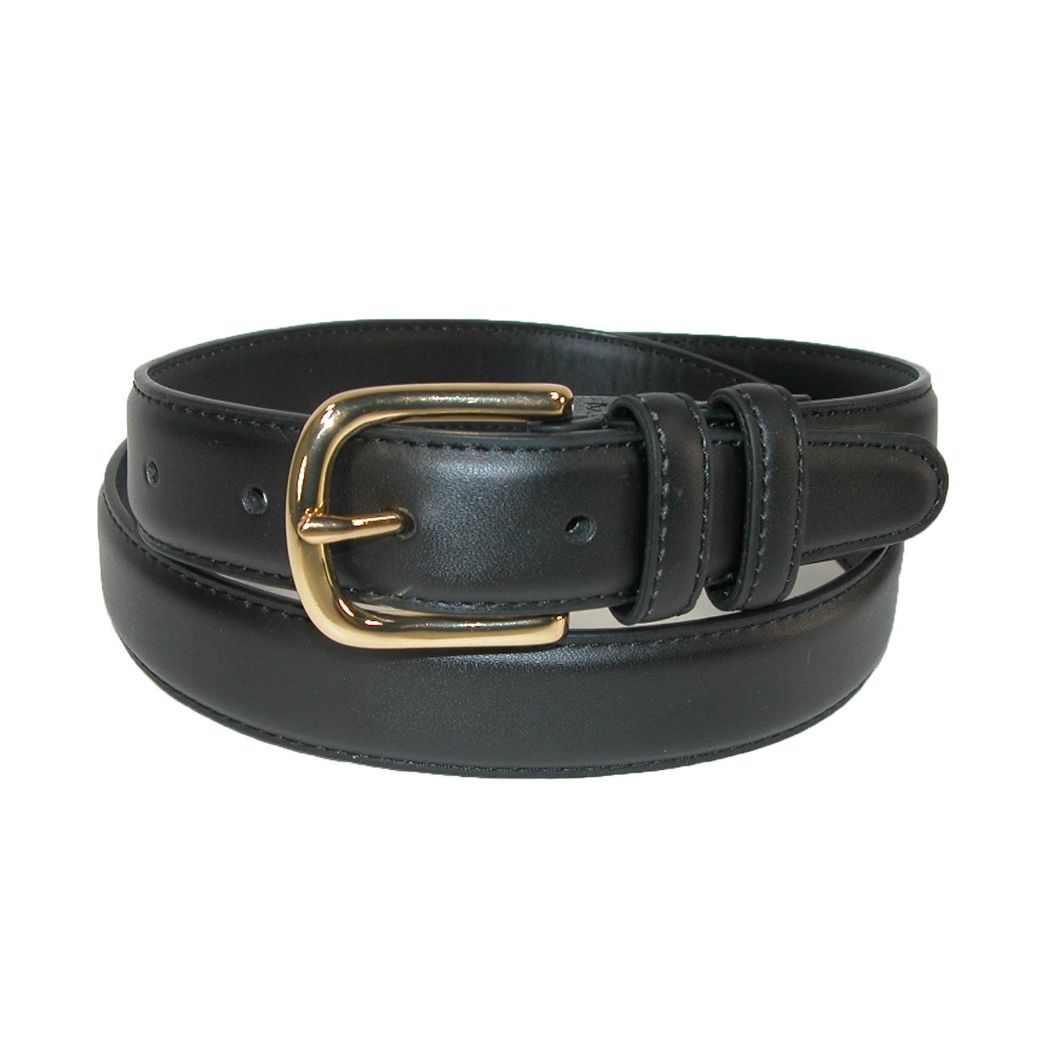 Aquarius Mens Leather Feather Edge Belt With Gold Buckle