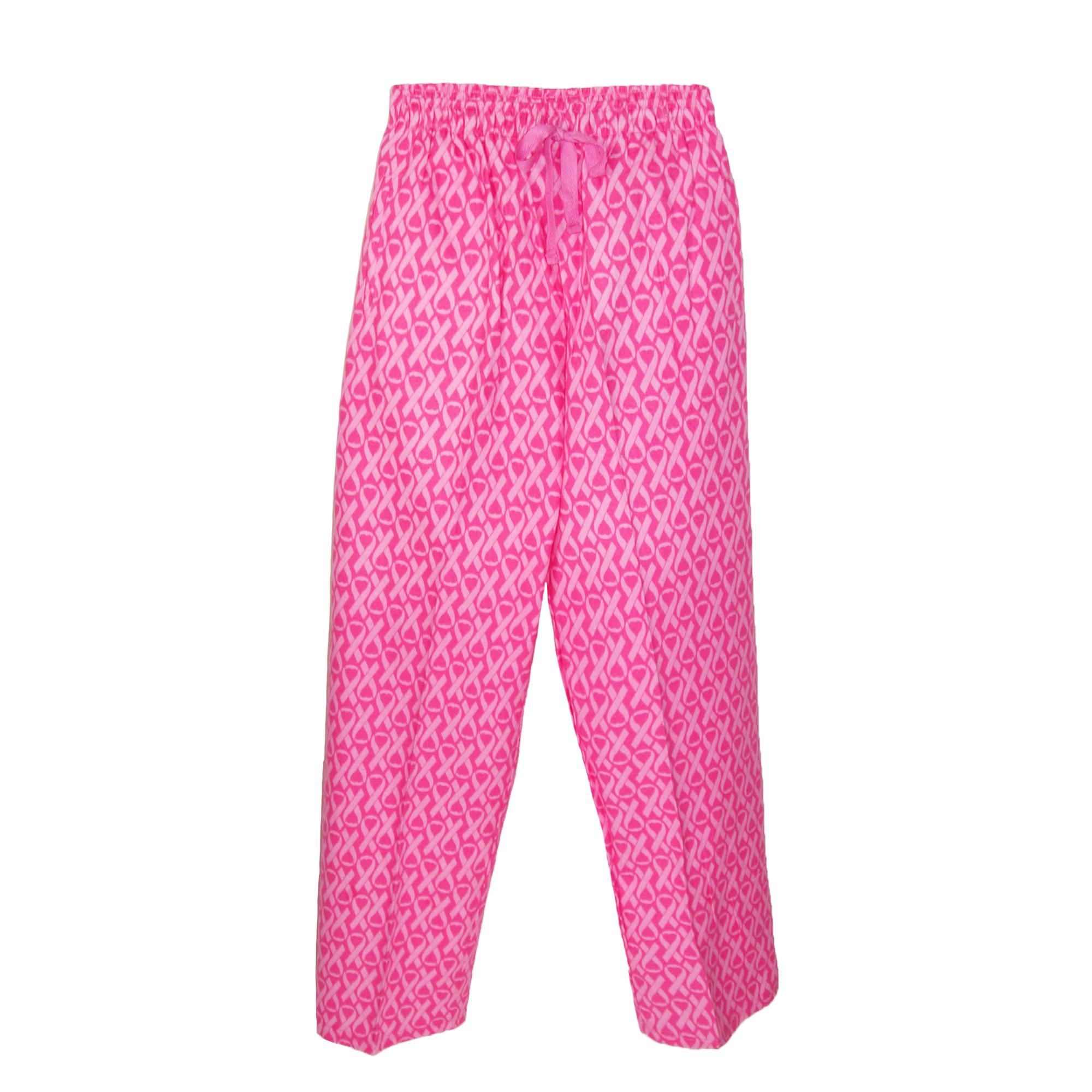 Boxercraft Womens Flannel Breast Cancer Awareness Ribbon Pajama Pants