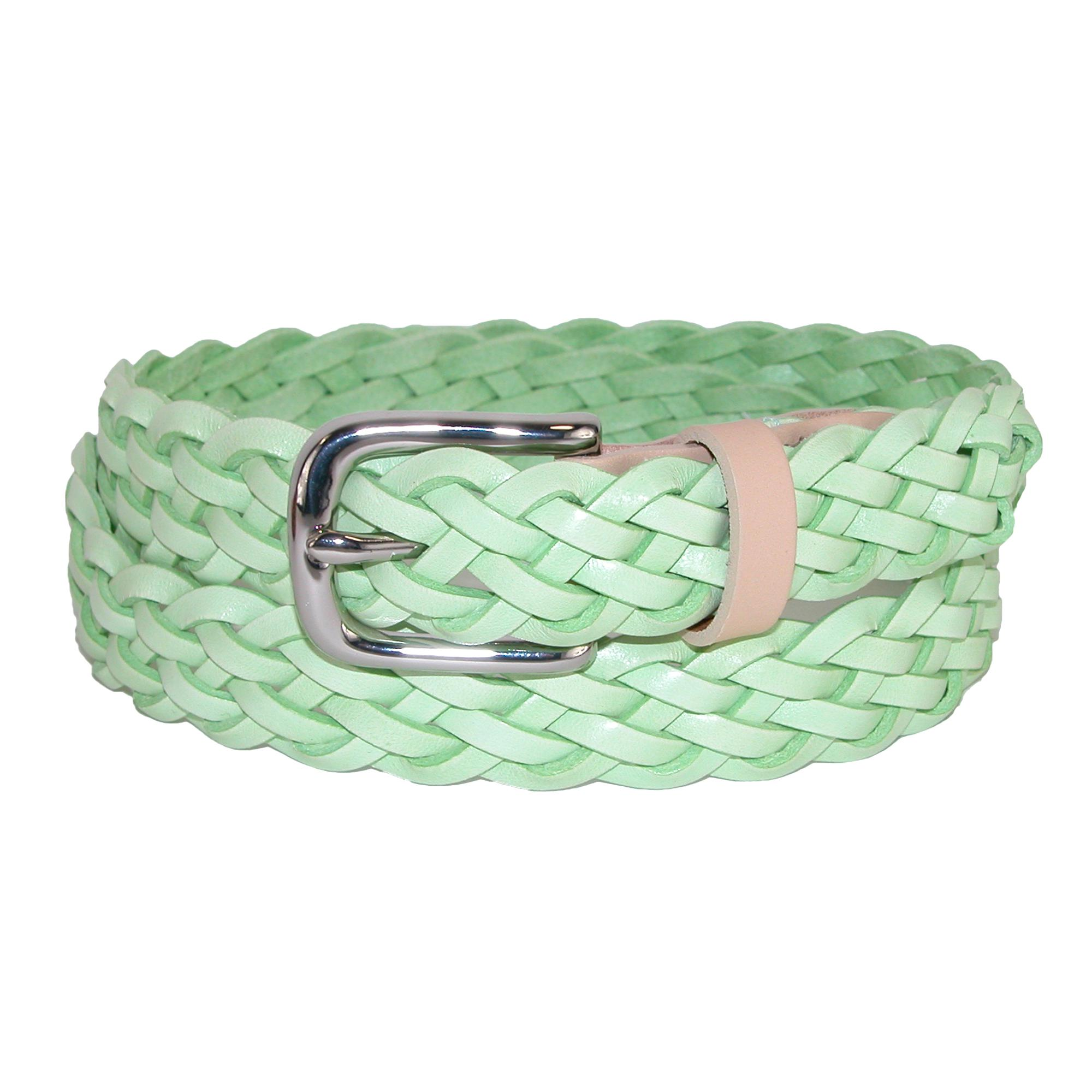 The British Belt Company Womens Prunella Leather Hand Woven Braided Belt