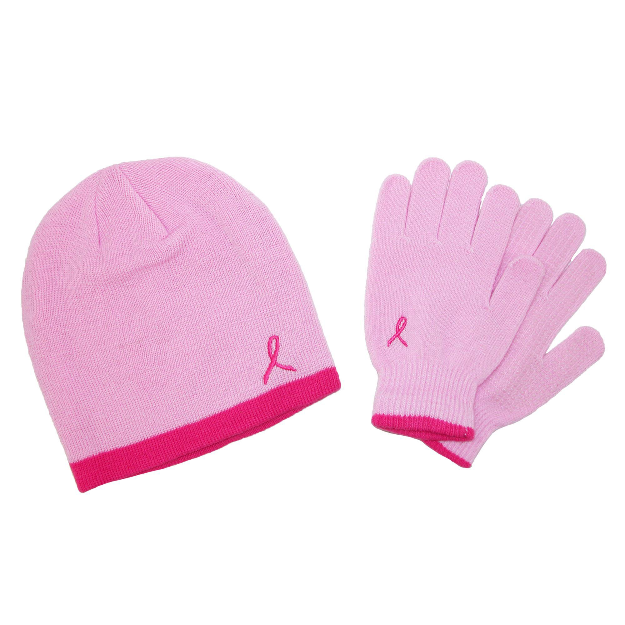 Grand Sierra Womens Pink Ribbon Hat And Glove Winter Set
