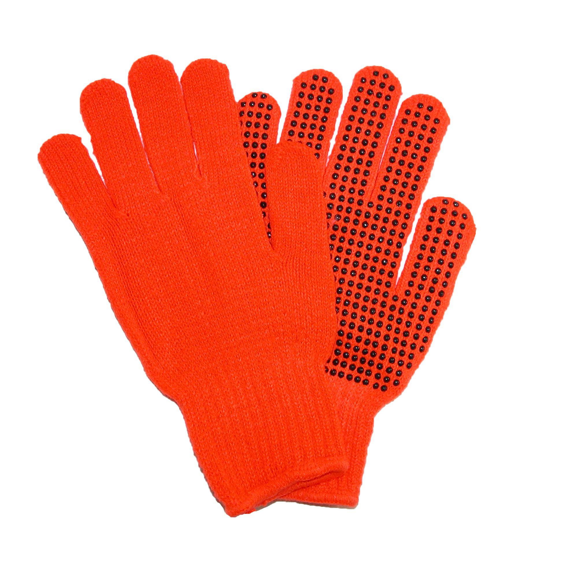 Grand Sierra Mens Knit Blaze Orange Work Gloves With Grips