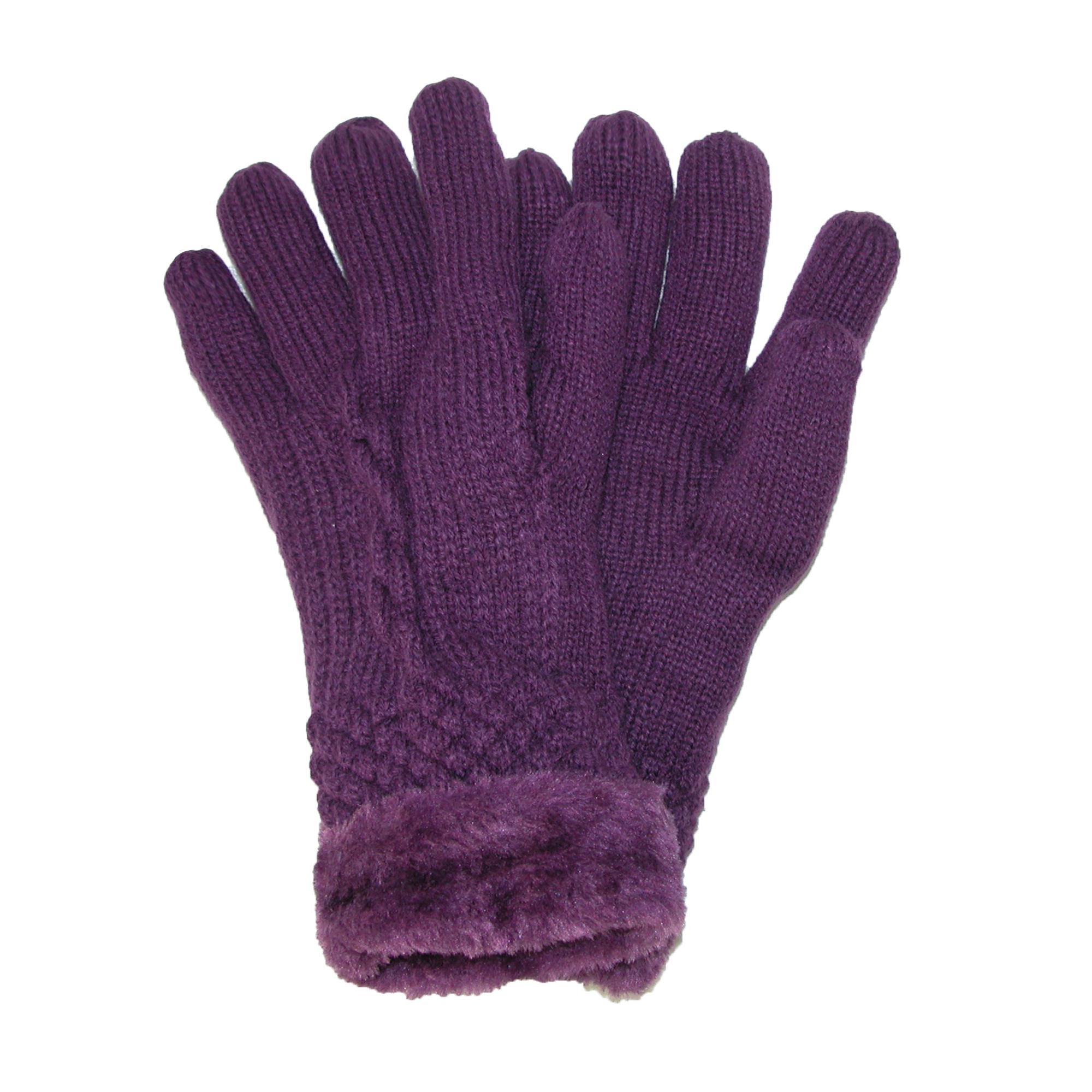 Grand Sierra Womens Cable Knit Glove With Faux Fur Lining
