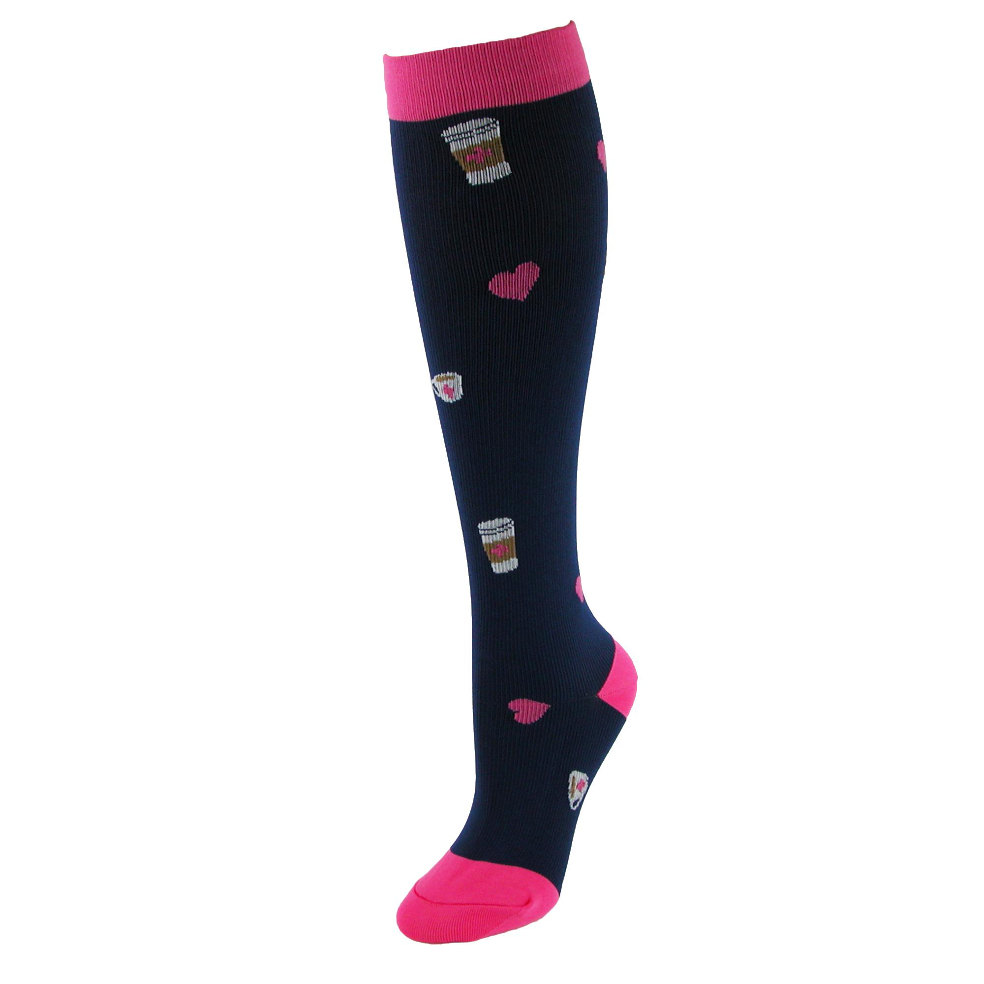 Think Medical Womens Hearts And Coffee Fashion Compression Socks