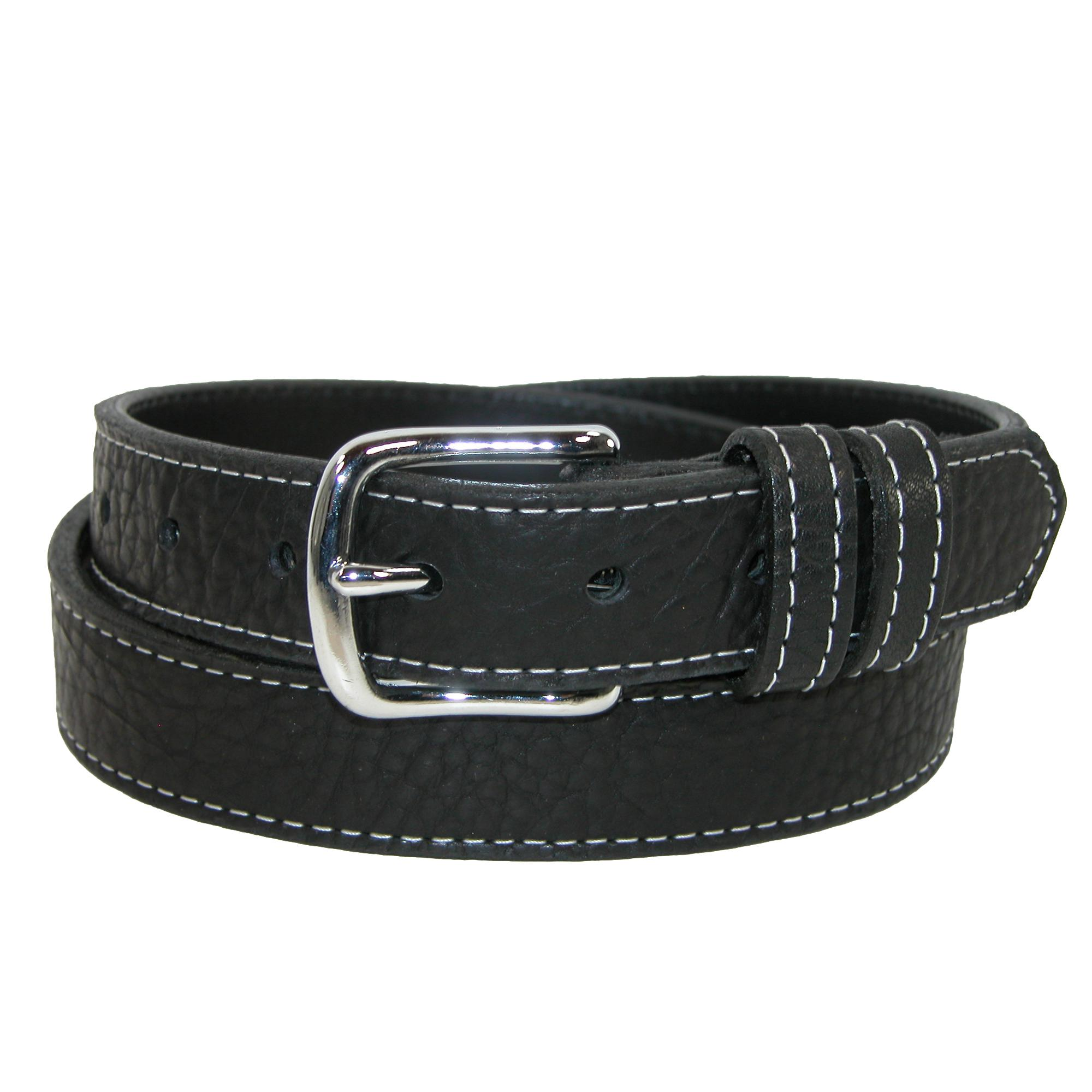 Boston Leather Men's Big & Tall Grizzley Bison Leather With Contrast Stitch Belt