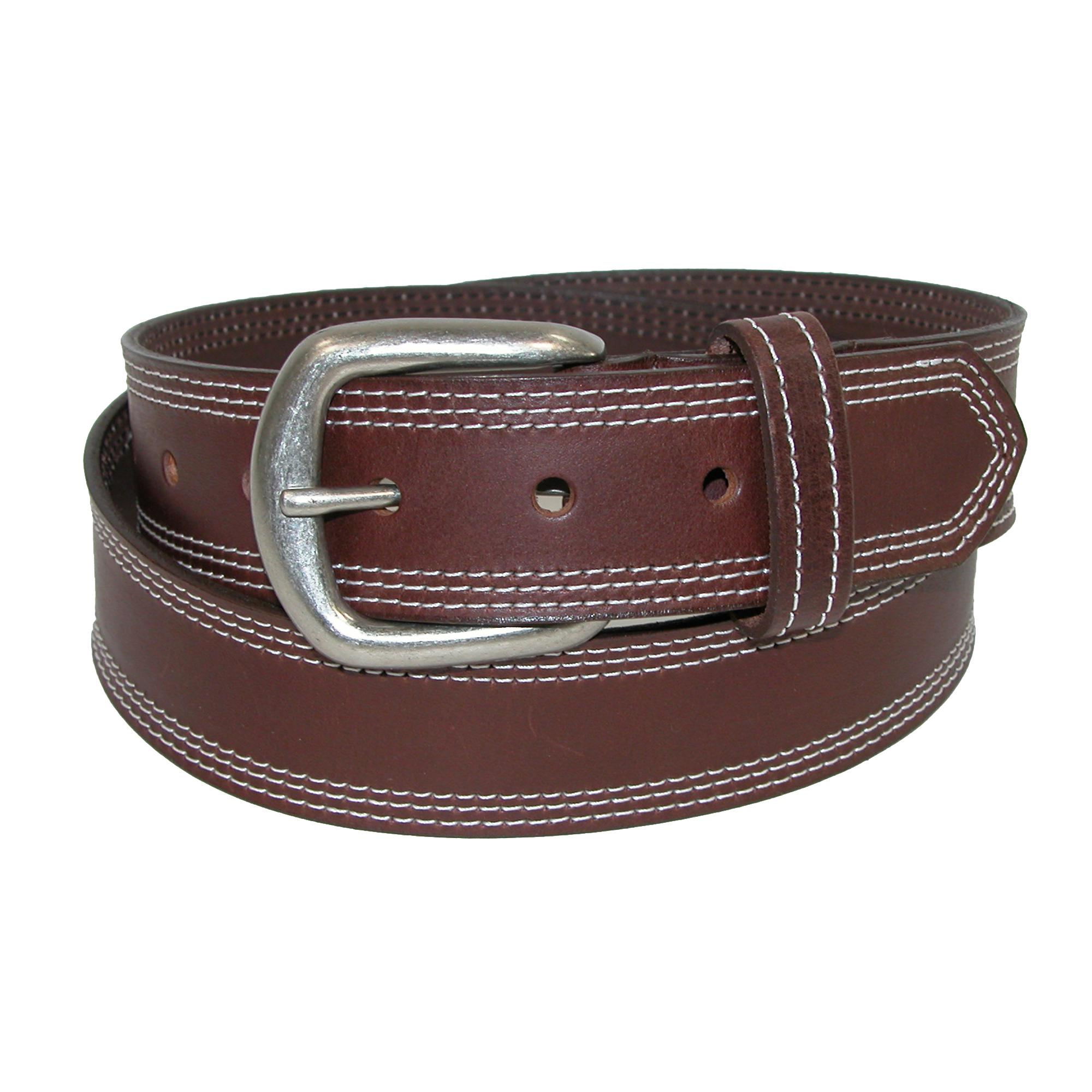 Boston Leather Men's Leather Contrast Triple Stitch Bridle Belt