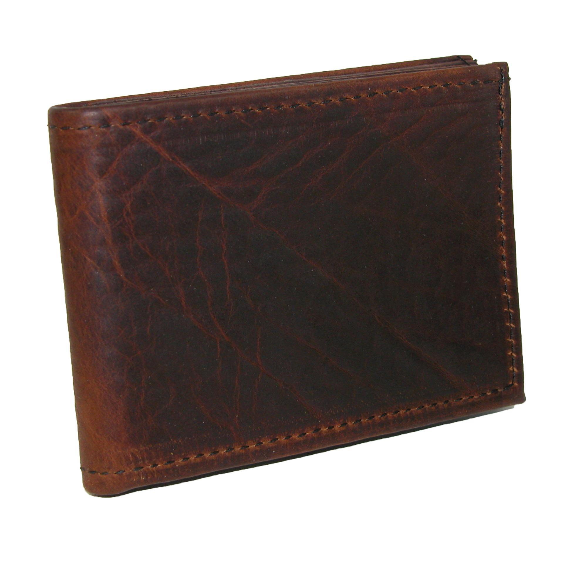 Boston Leather Mens Textured Bison Leather Billfold Wallet Dark ... ac8a4d3742