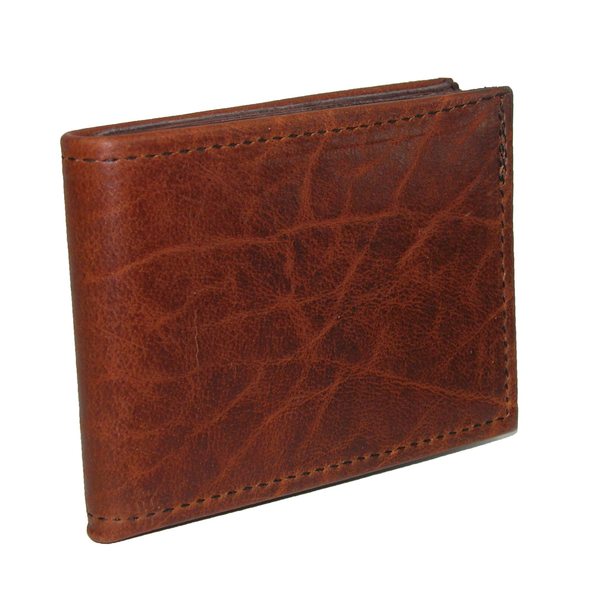 Boston Leather Men's Textured Bison Leather Billfold Wallet