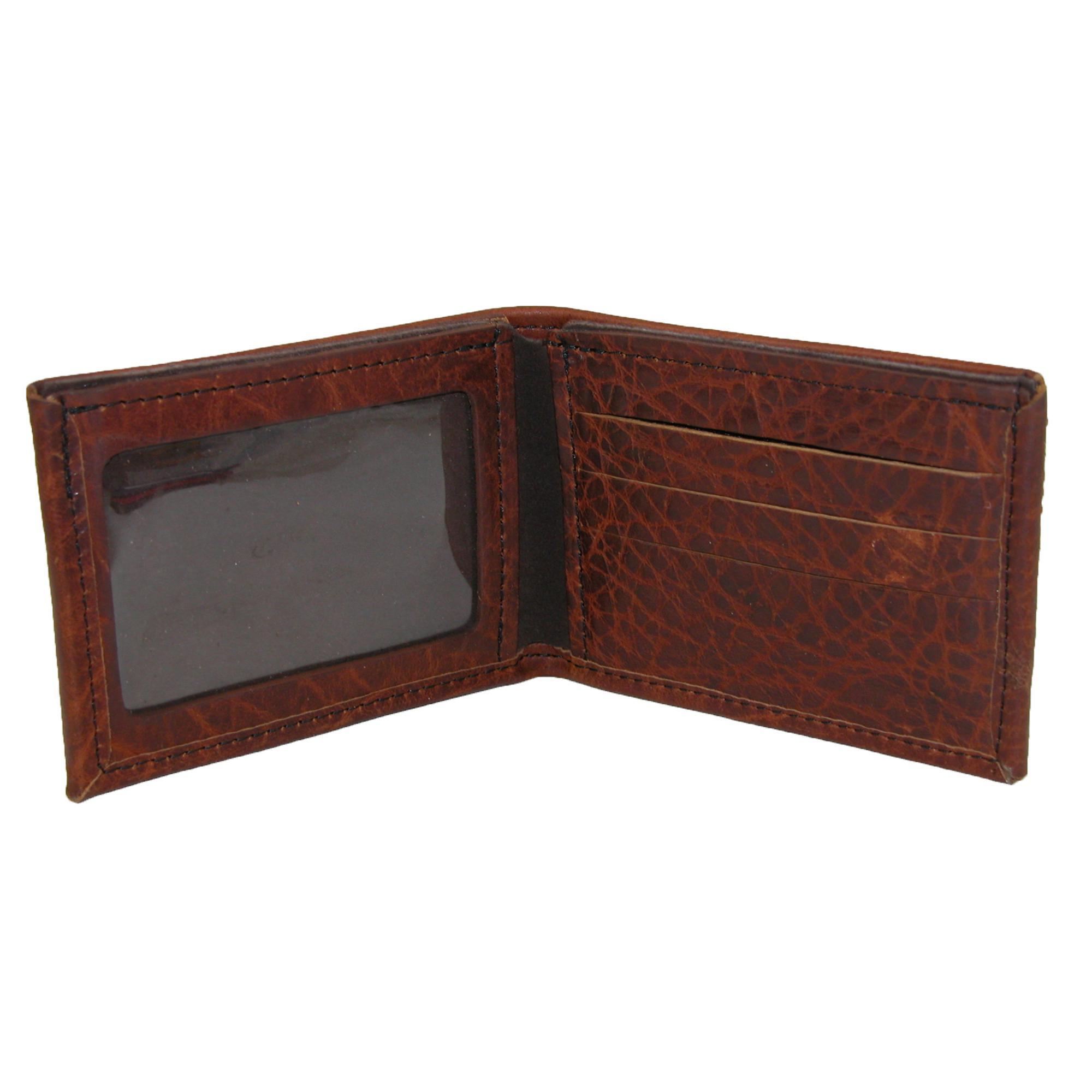 Nouveau-Boston-Leather-Men-039-s-Texture-Cuir-Bison-Portefeuille-Portefeuille miniature 4