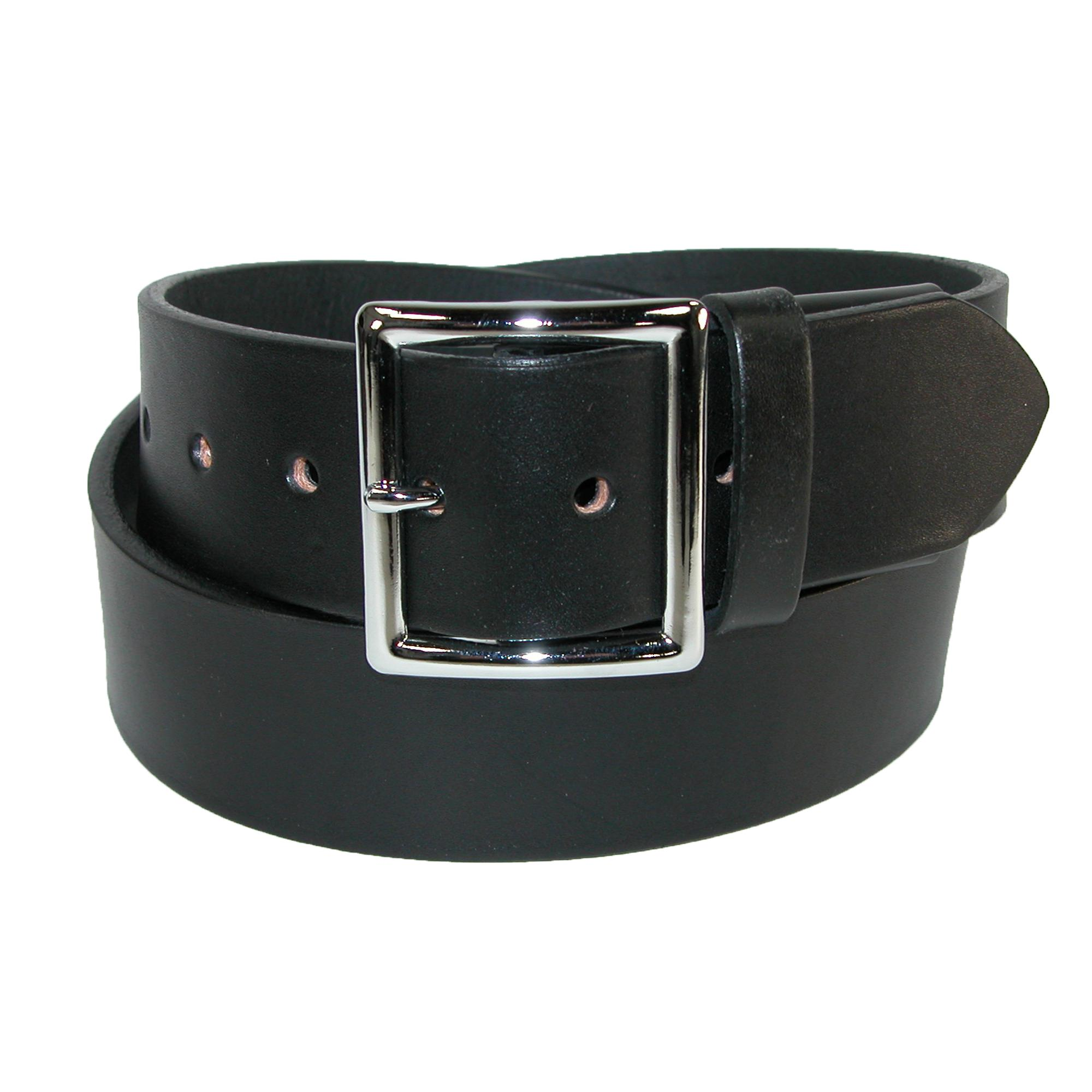 Boston Leather Men's Leather Garrison Belt With Hidden Elastic