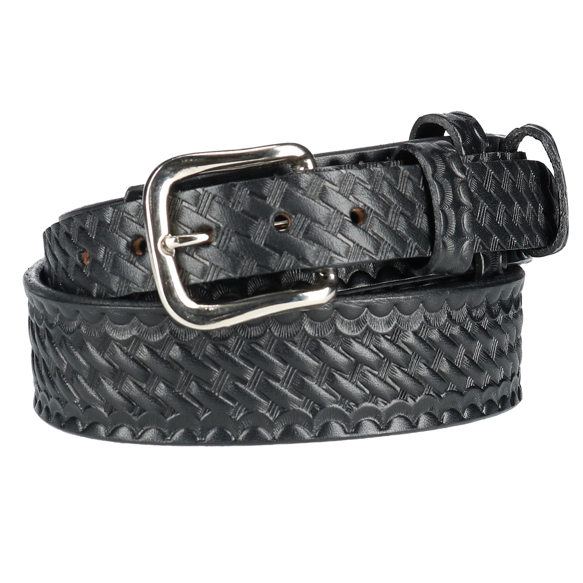 Boston Leather Men's Leather Basketweave Ranger Belt