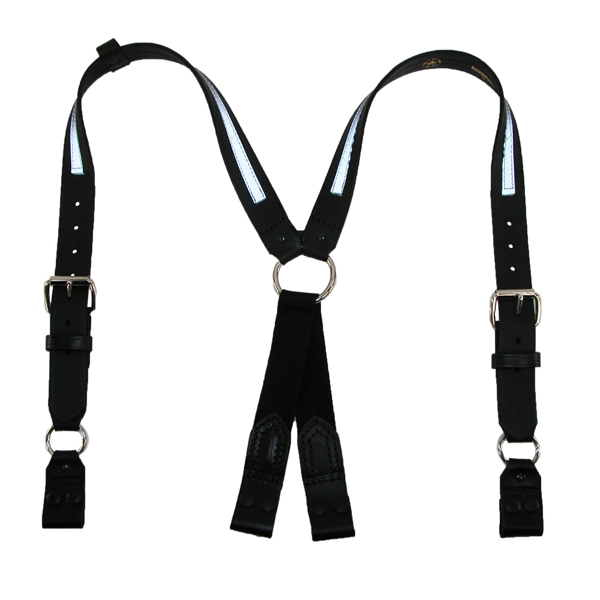 Boston Leather Leather Reflective Loop End Fireman Work Suspenders