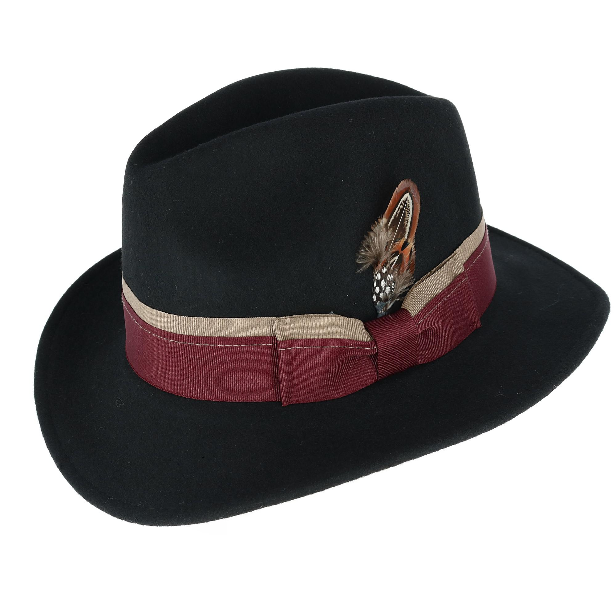 b6fdc7149d378 Broner Men s Down-Turned Brim Fedora with Dual Color Layered Hatband  (BR-7340