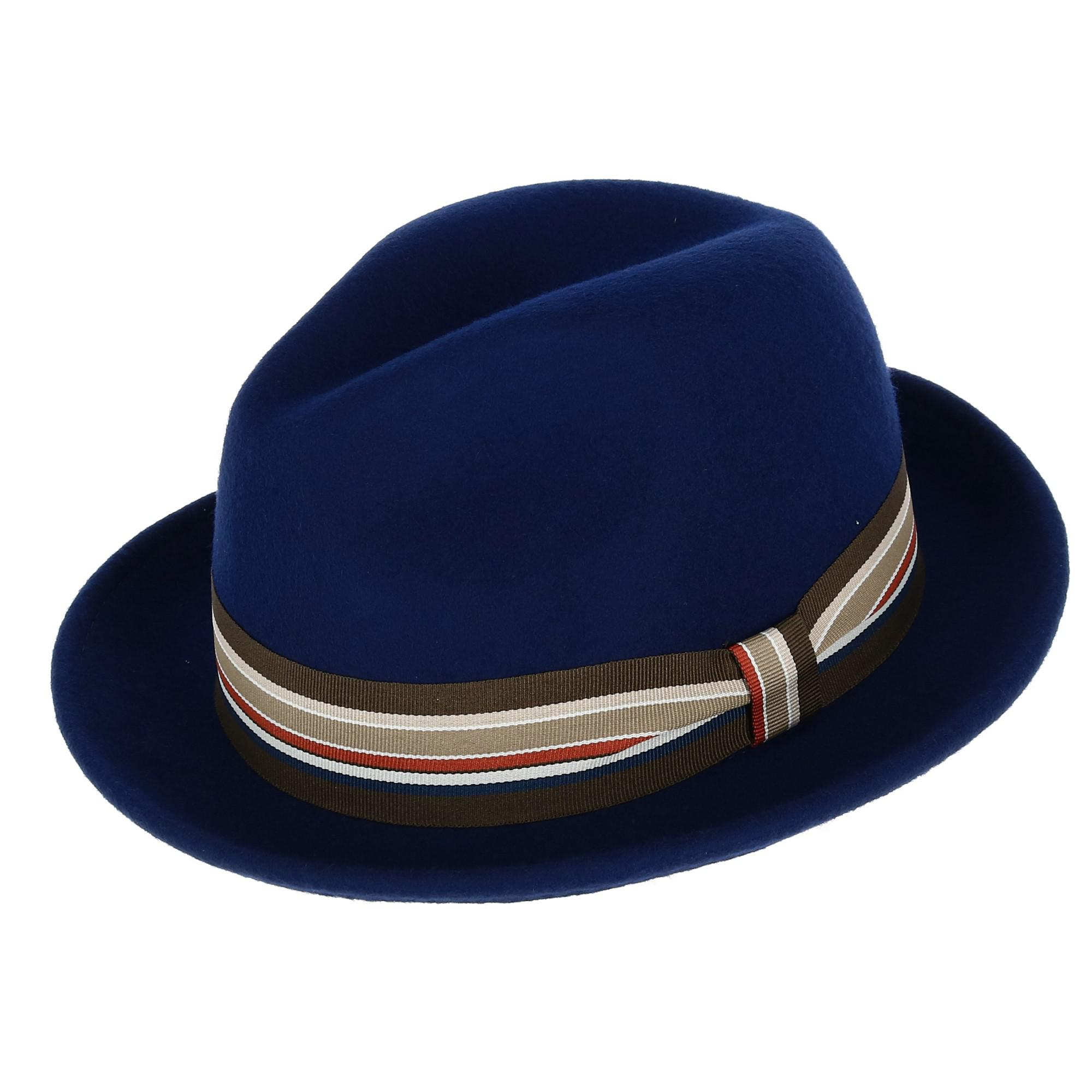 cae68970e751e Details about New Broner Men s Wool Felt Fedora with Striped Grosgrain  Ribbon Band