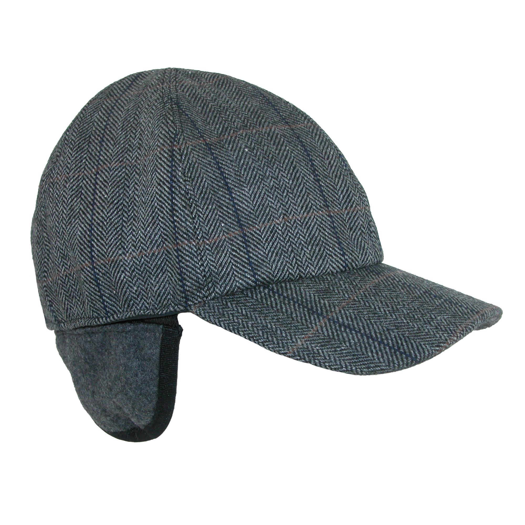 830c29400ba8b Broner Men s Herringbone Plaid Baseball Cap with Earflaps (BR-7609-CHA-L