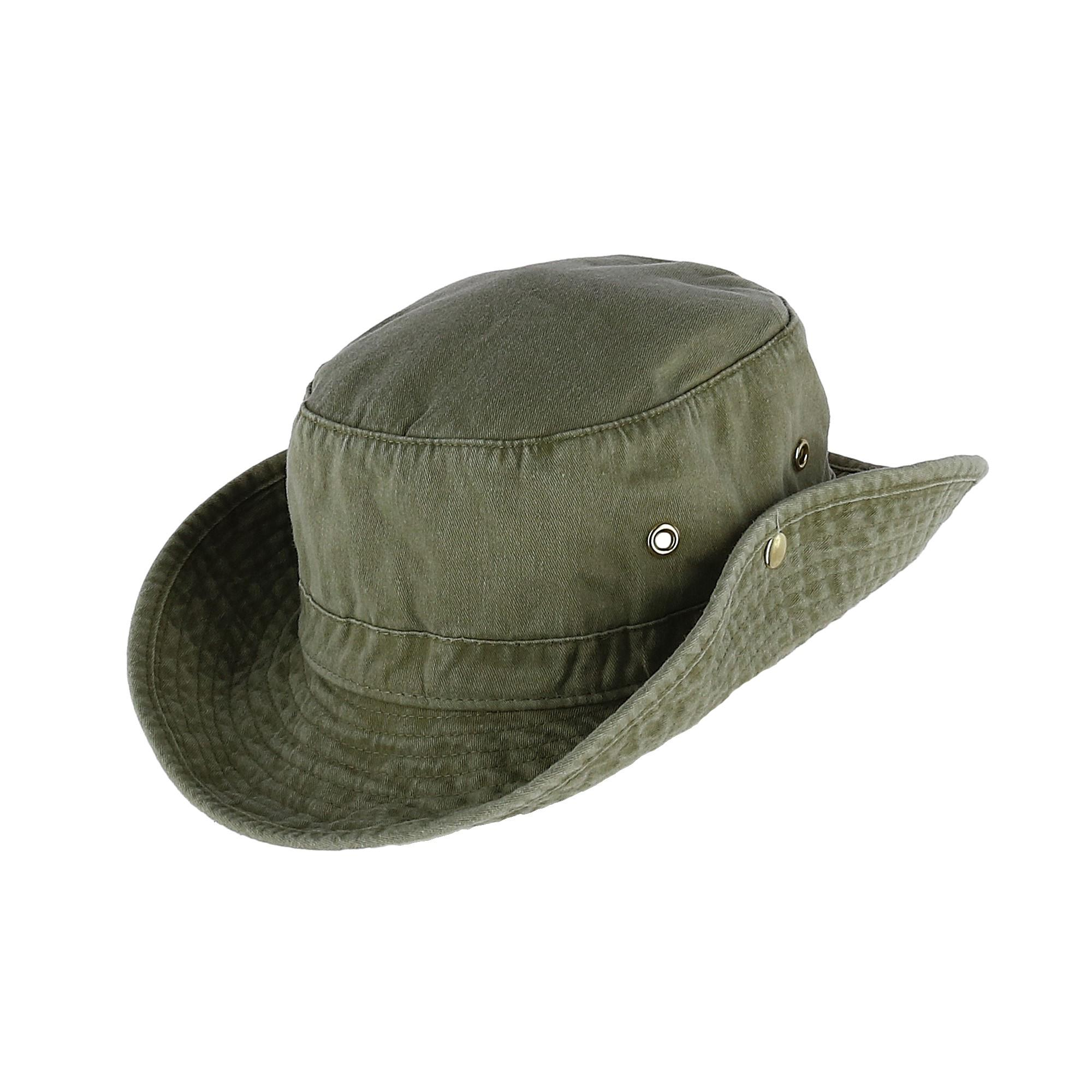 2a1b28e287777 New Broner Men s Garment Washed Bucket Hat with Snaps and Chin Cord ...