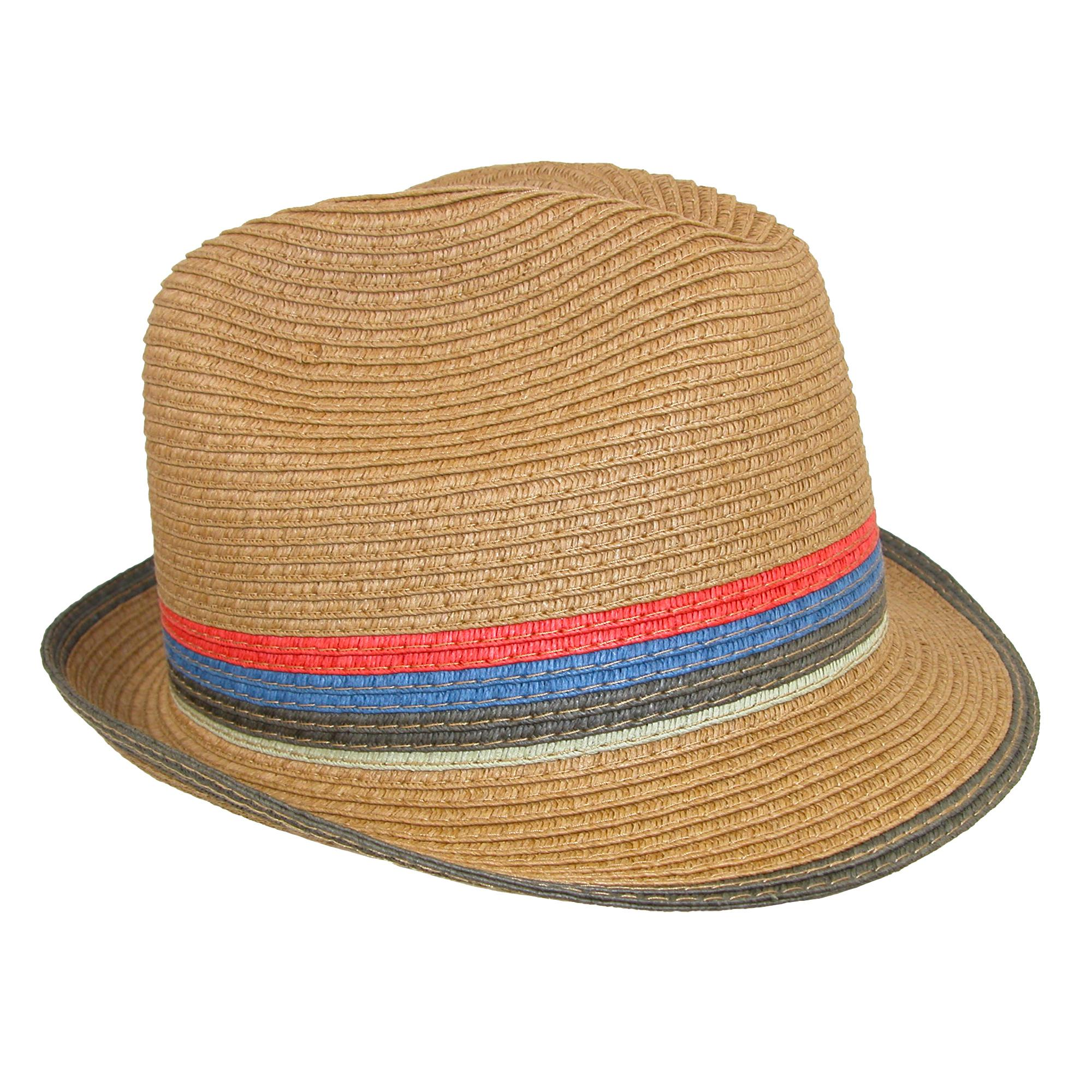 Broner Hats: New Broner Men's Paper Braid Fedora Hat With Colorful