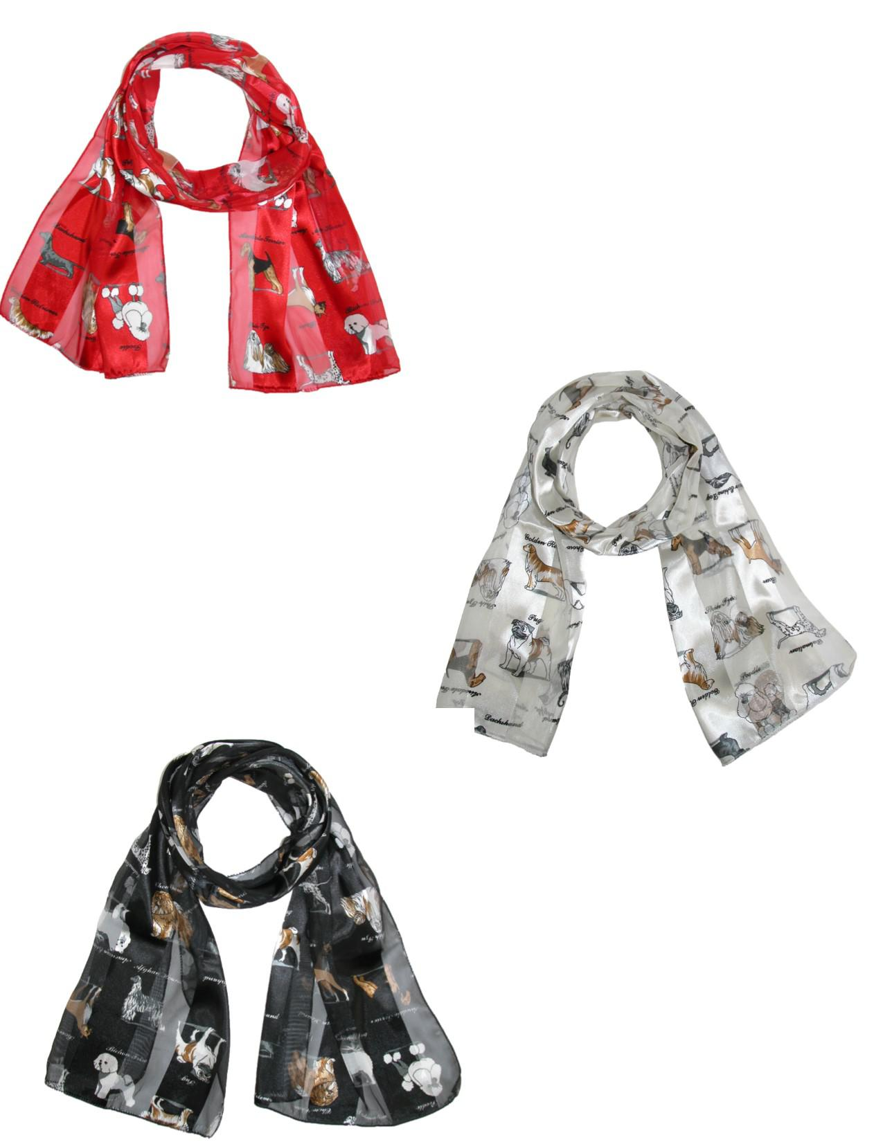 Ctm Womens Satin Scarves With Dog Breeds (pack Of 3)