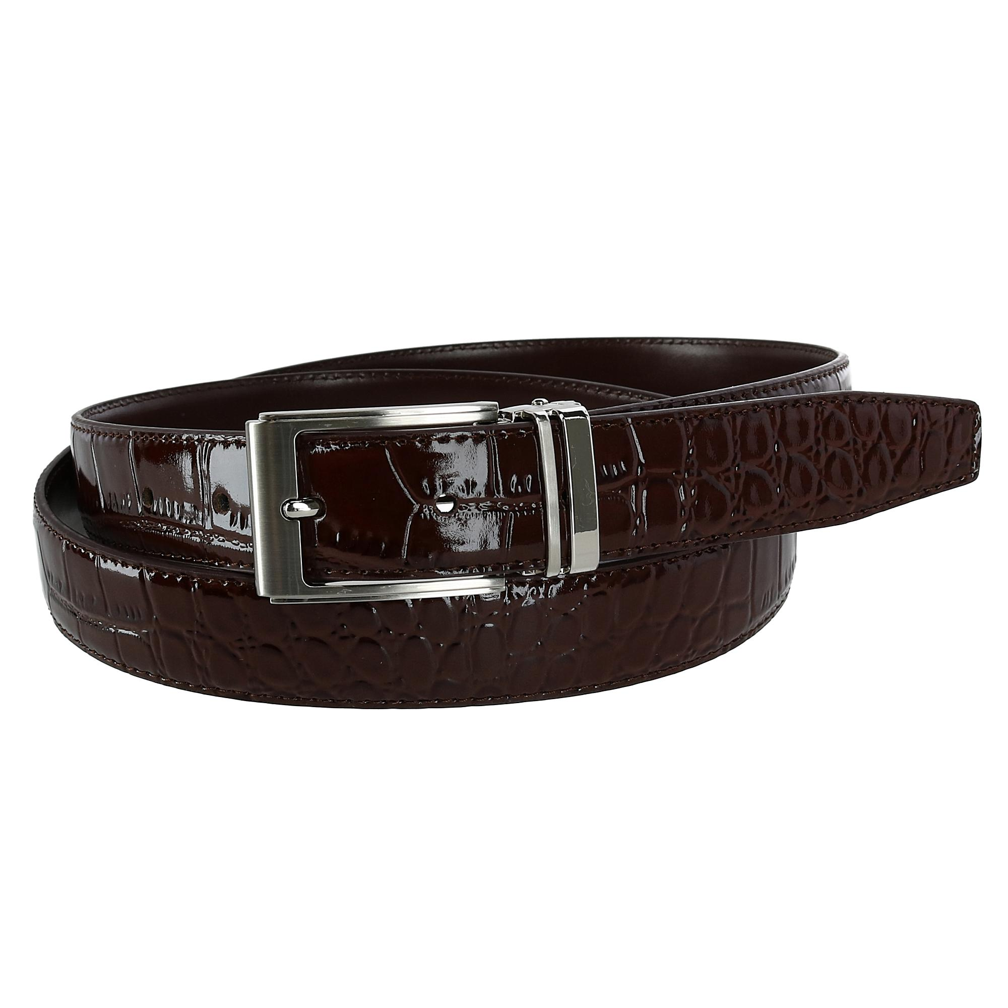 Ctm Mens Leather Croc Print Dress Belt With Clamp On Buckle