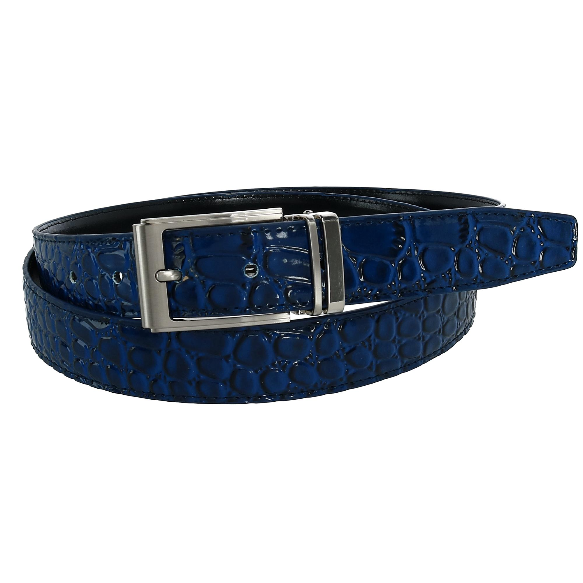 CTM_Leather_Croc_Print_Dress_Belt_with_Clamp_On_Buckle_-_Navy_40