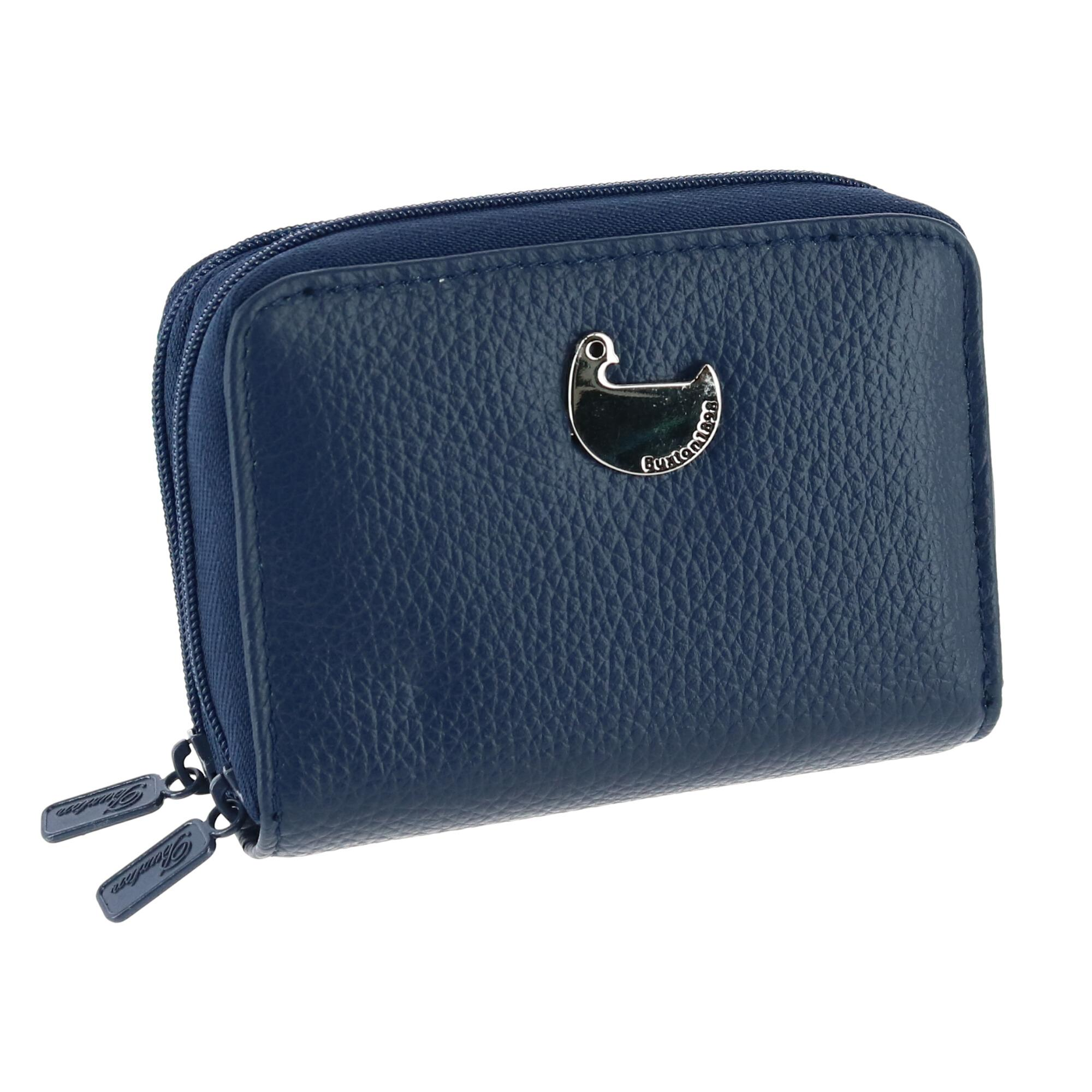 Buxton Navy 2 Sided ZIPPER ID Change Credit Card Wallet 4x3 ...