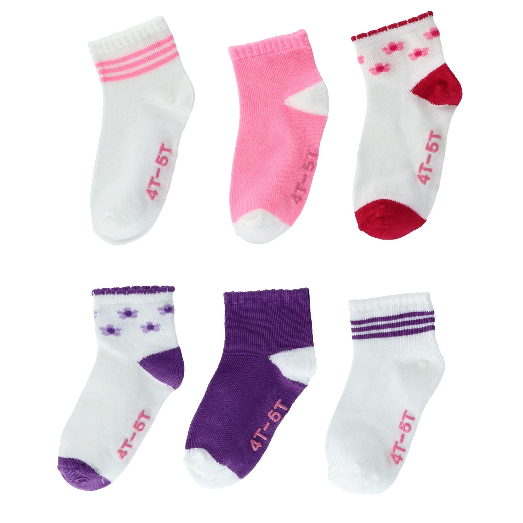 New Hanes Infant Toddler Non Slip Ankle Socks 6 Pair Pack