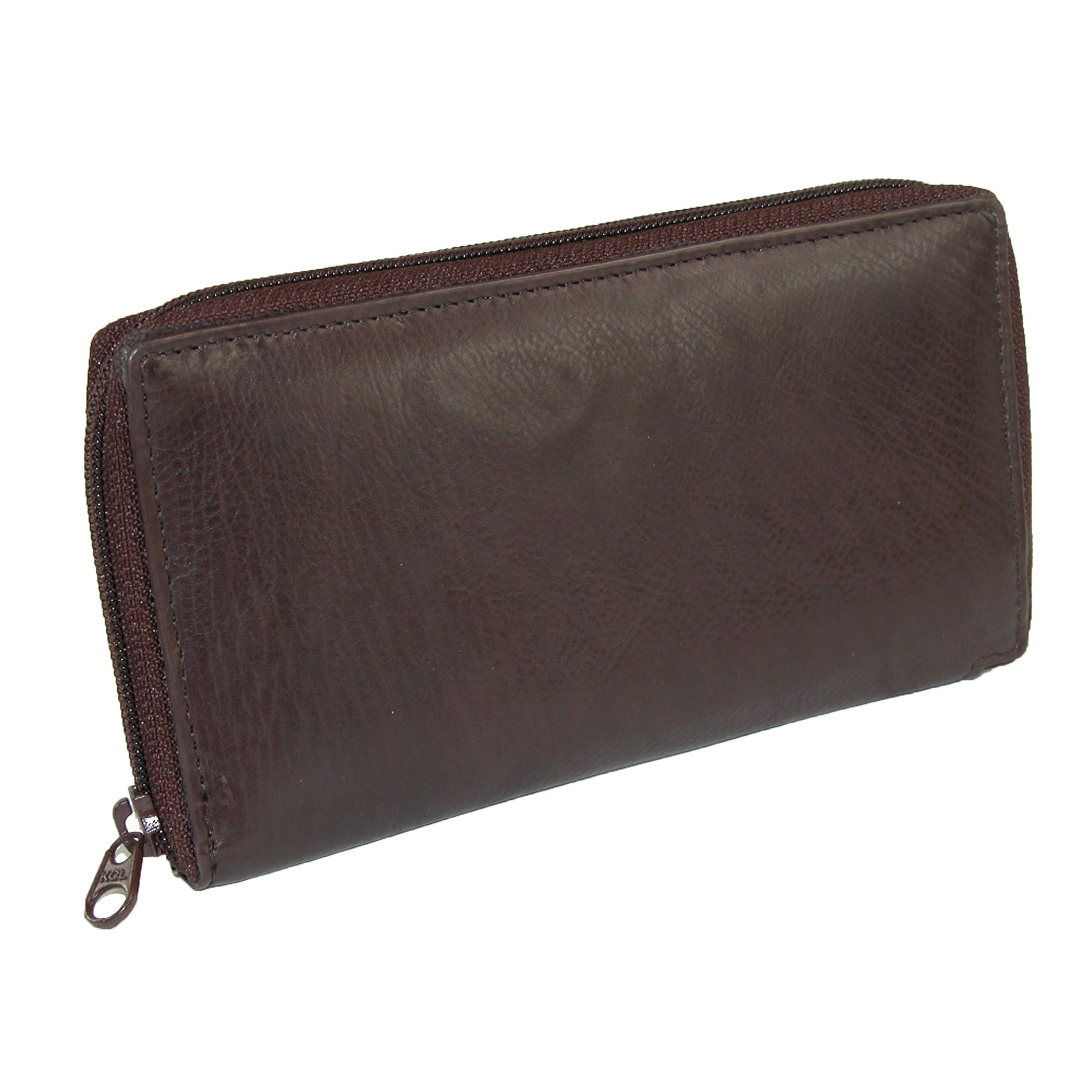 Paul_&_Taylor_Leather_Deluxe_Zip_Around_Checkbook_Cover_Wallet_-_Brown