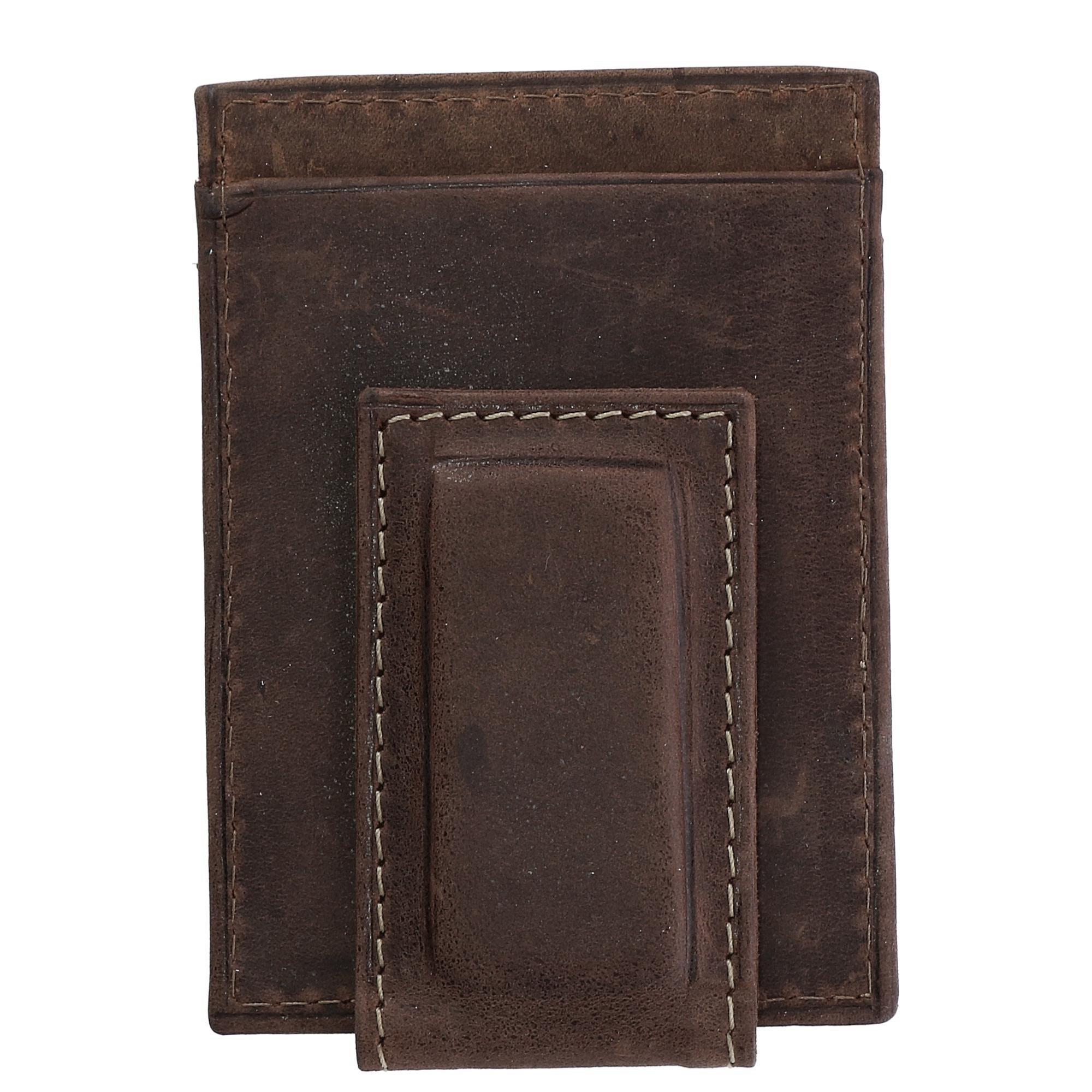 CTM Men's Hunter Leather Distressed Magnetic Money